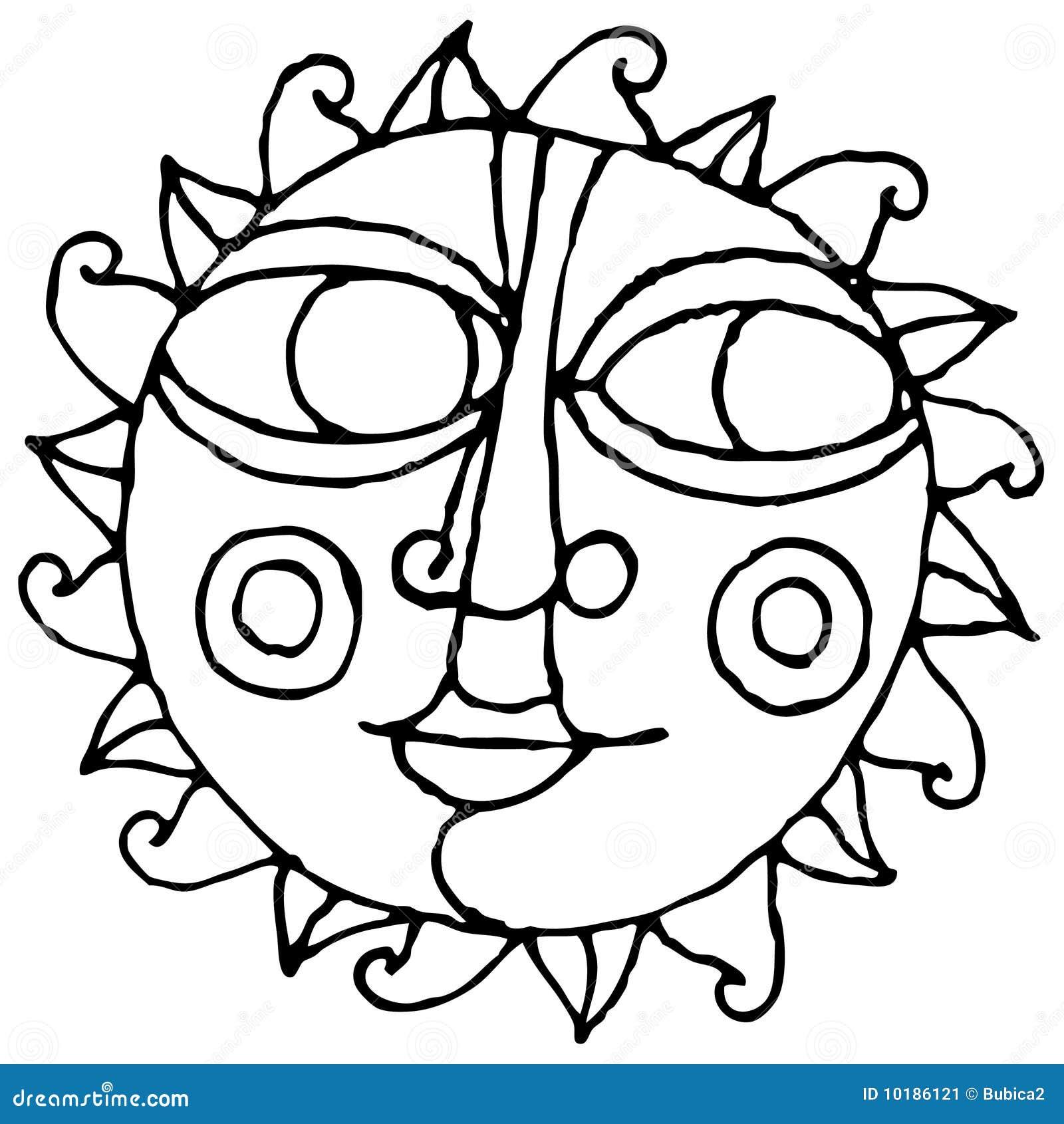 desenho simples da mão do sol grande do olho preto e branco