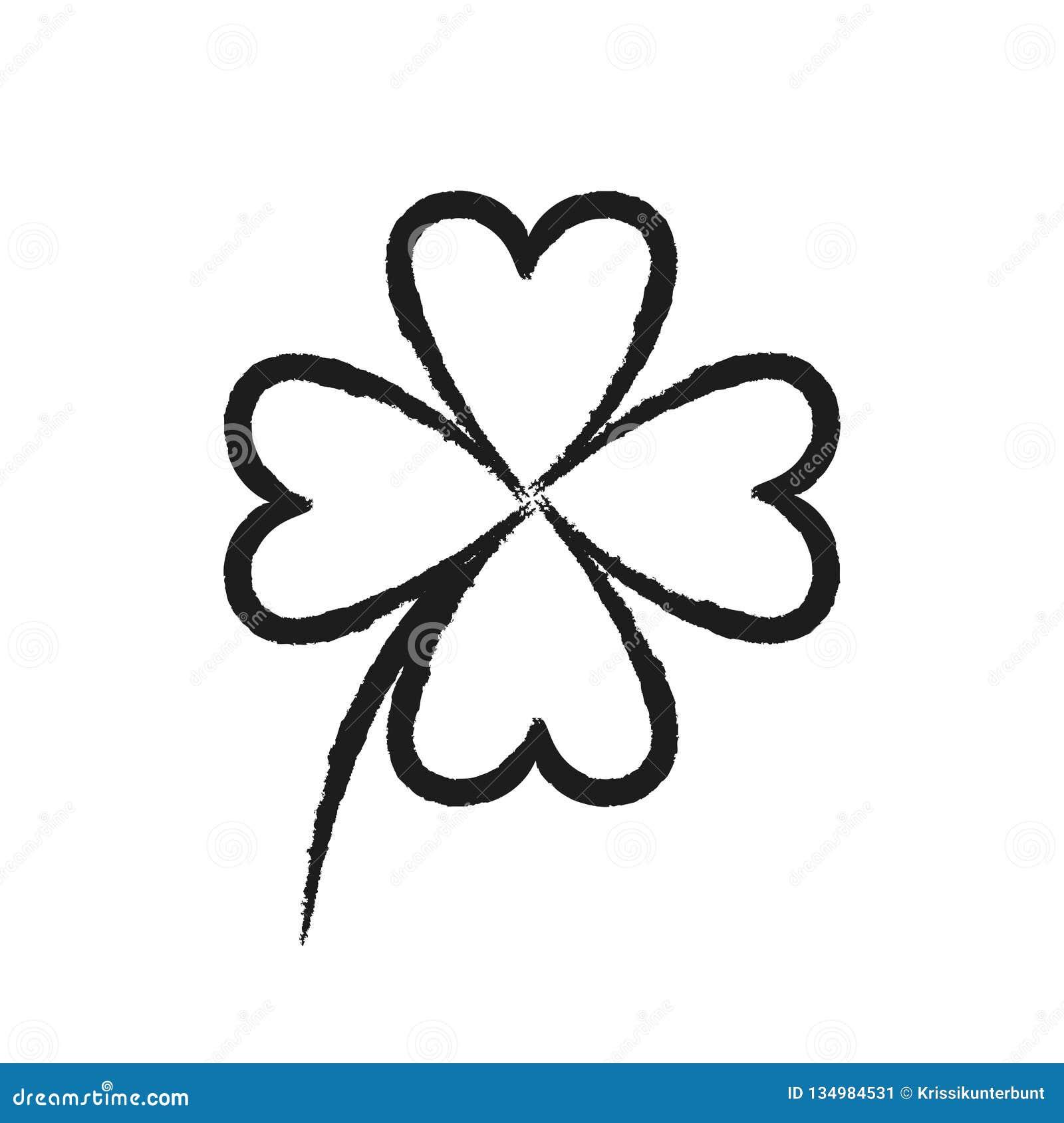 Desenho Simples Do Trevo De Quatro Folhas No Fundo Branco