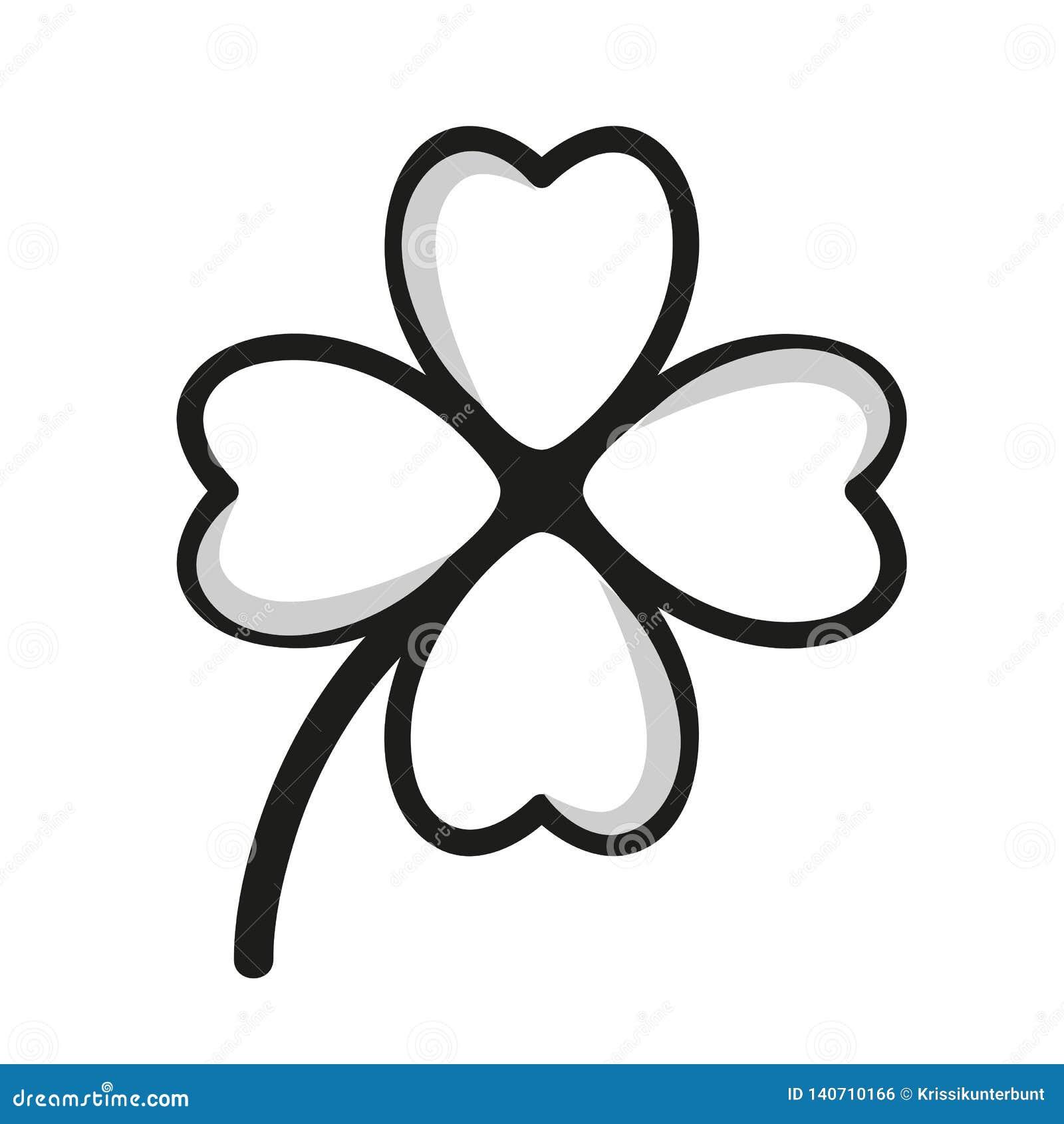 Desenho Simples Preto E Branco Do Trevo De Quatro Folhas
