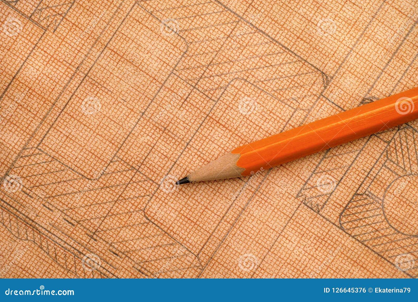 Desenho técnico velho no papel de gráfico com lápis