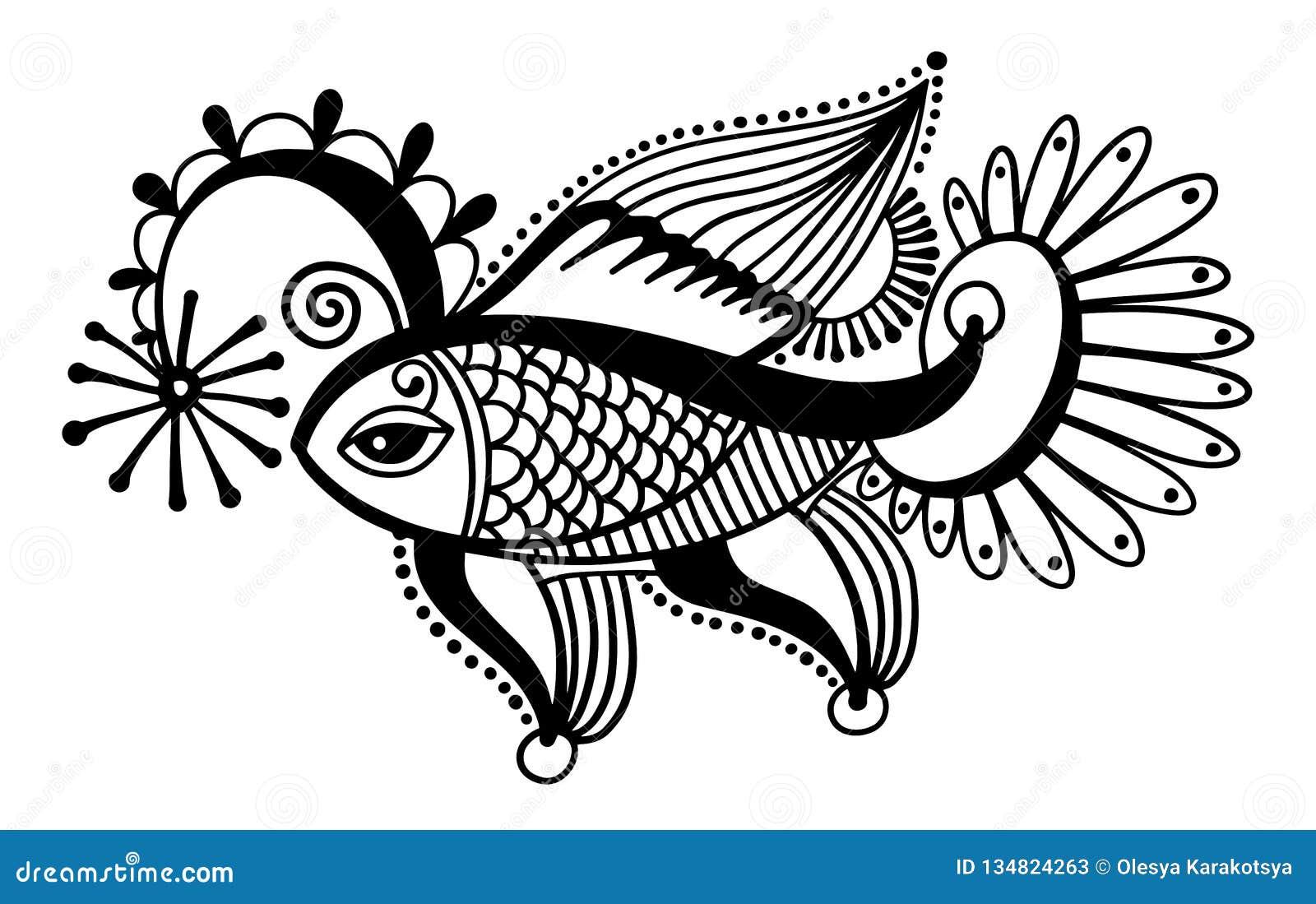 Desenho Tribal Dos Peixes Decoracao Indiana Do Mehndi Ilustracao