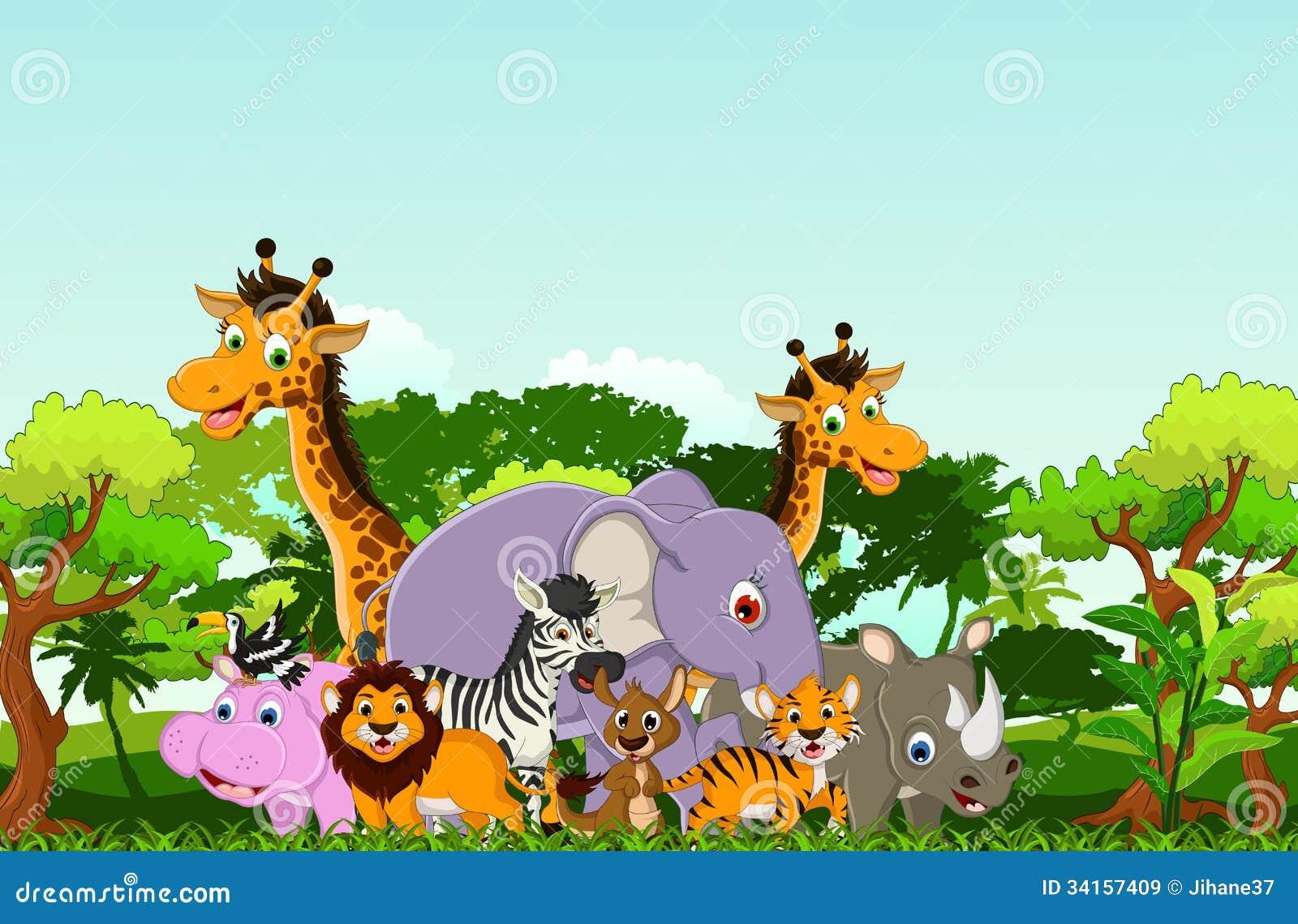 Desenhos Animados Animais Com Fundo Tropical Da Floresta