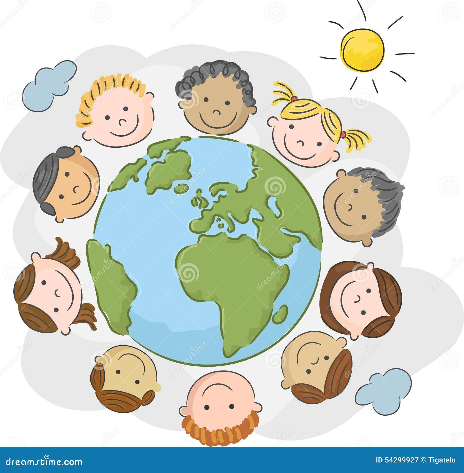 Desenhos Animados As Crianças Do Mundo Em Um Círculo No