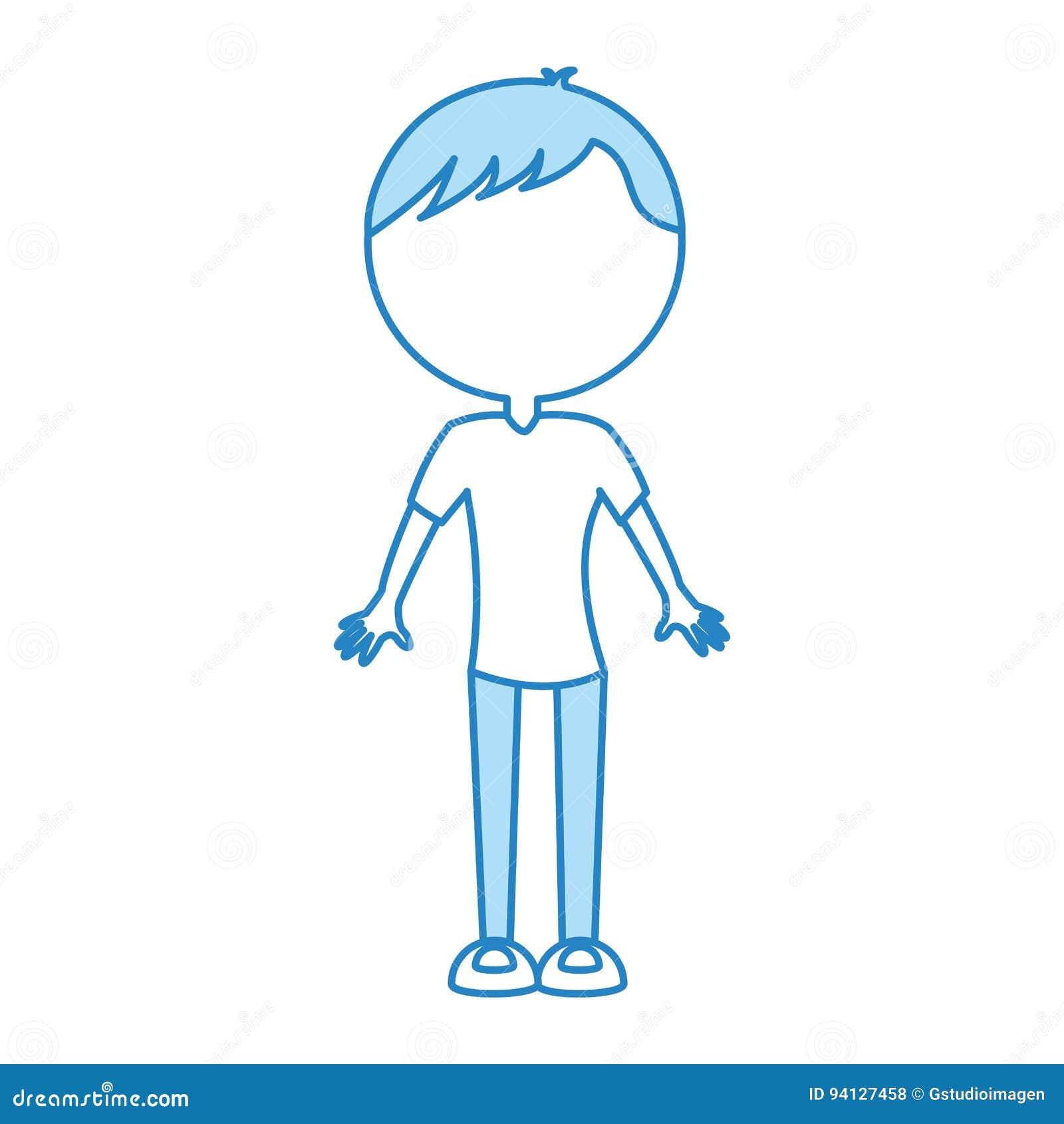 Desenhos Animados Azuis Bonitos Do Homem Do Corpo Ilustracao Do