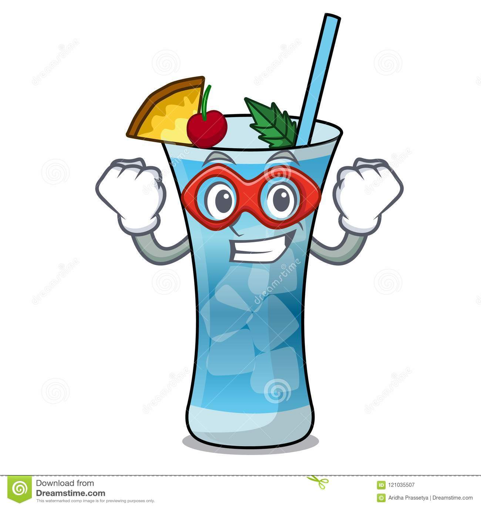 Desenhos Animados Azuis Do Carater De Havai Do Super Heroi Ilustracao Do Vetor Ilustracao De Fresco Cocktail 121035507