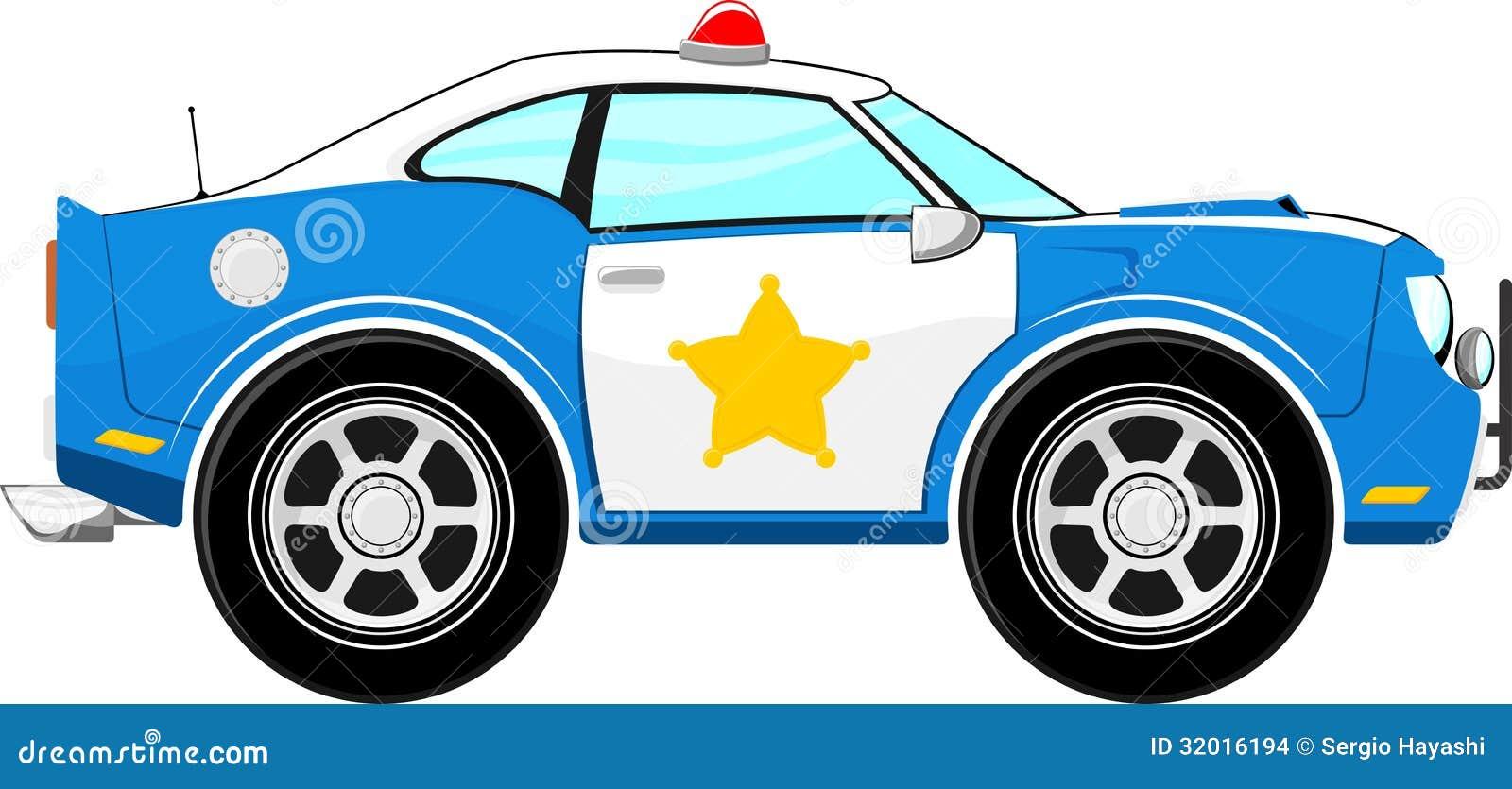 Desenhos Animados Azuis Engracados Do Carro De Policia Ilustracao