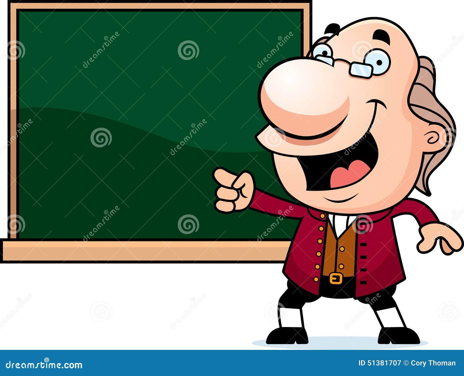 Desenhos animados Ben Franklin Chalkboard