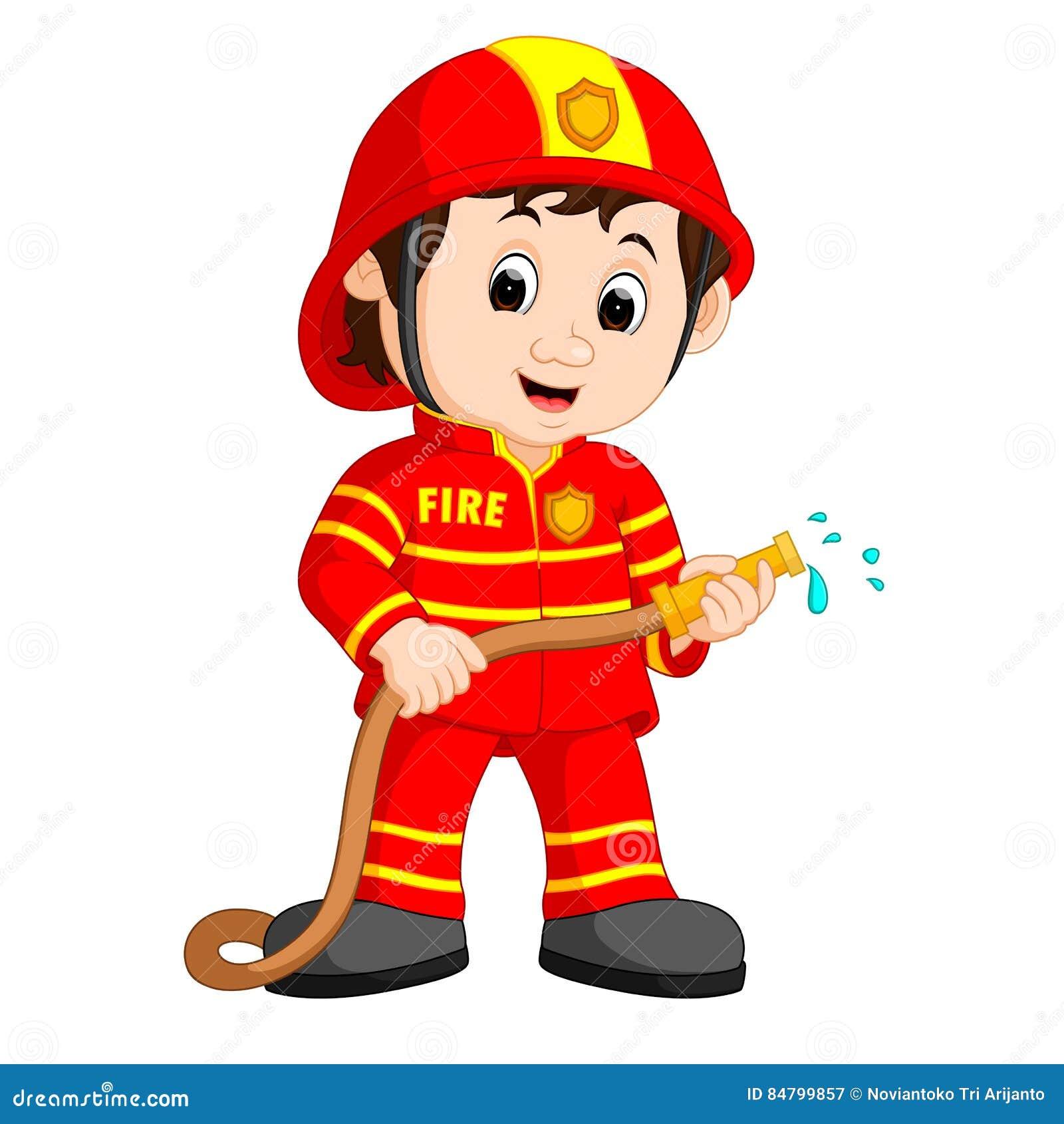 desenhos animados bonitos do bombeiro ilustra u00e7 u00e3o do vetor ilustra u00e7 u00e3o de engra u00e7ado  homem 84799857 fireman clip art firefighters fireman clip art images
