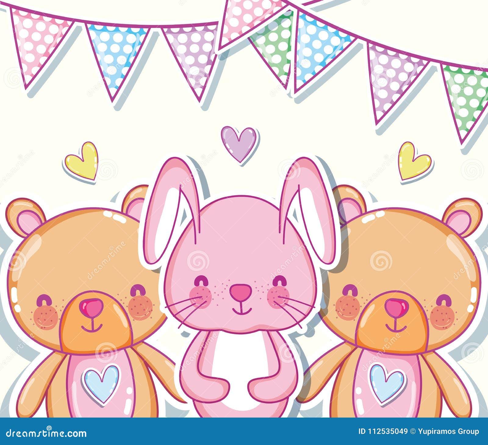 Desenhos Animados Bonitos Do Coelho E Dos Ursos Ilustracao Do Vetor Ilustracao De Animados Ursos 112535049