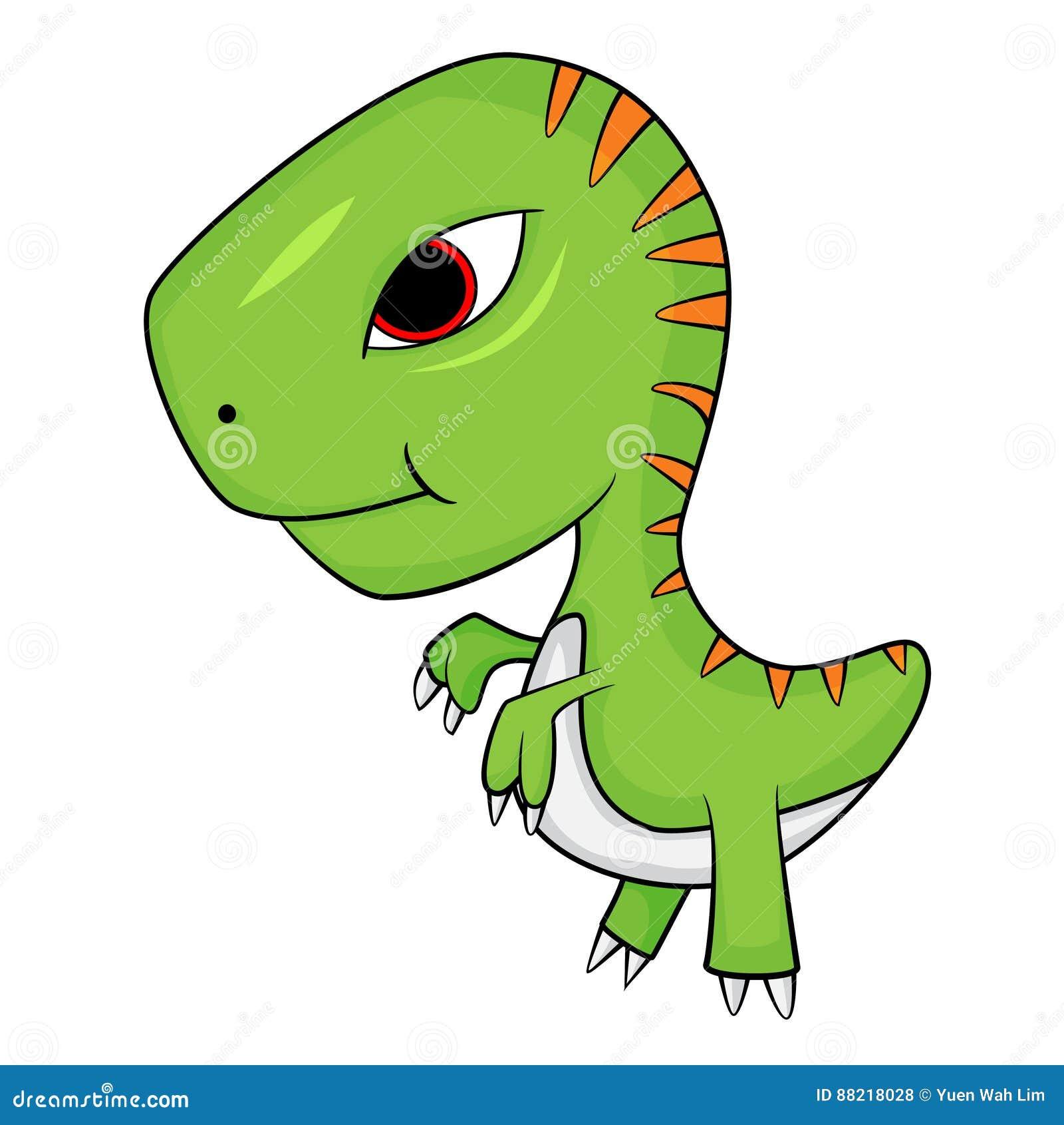 desenhos animados bonitos do dinossauro de t rex do bebê ilustração