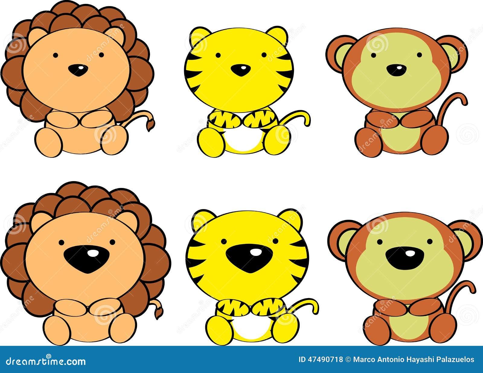 Zoológico De Animais Bebê Dos Desenhos Animados Vetor: Desenhos Animados Bonitos Set4 Dos Animais Do Bebê