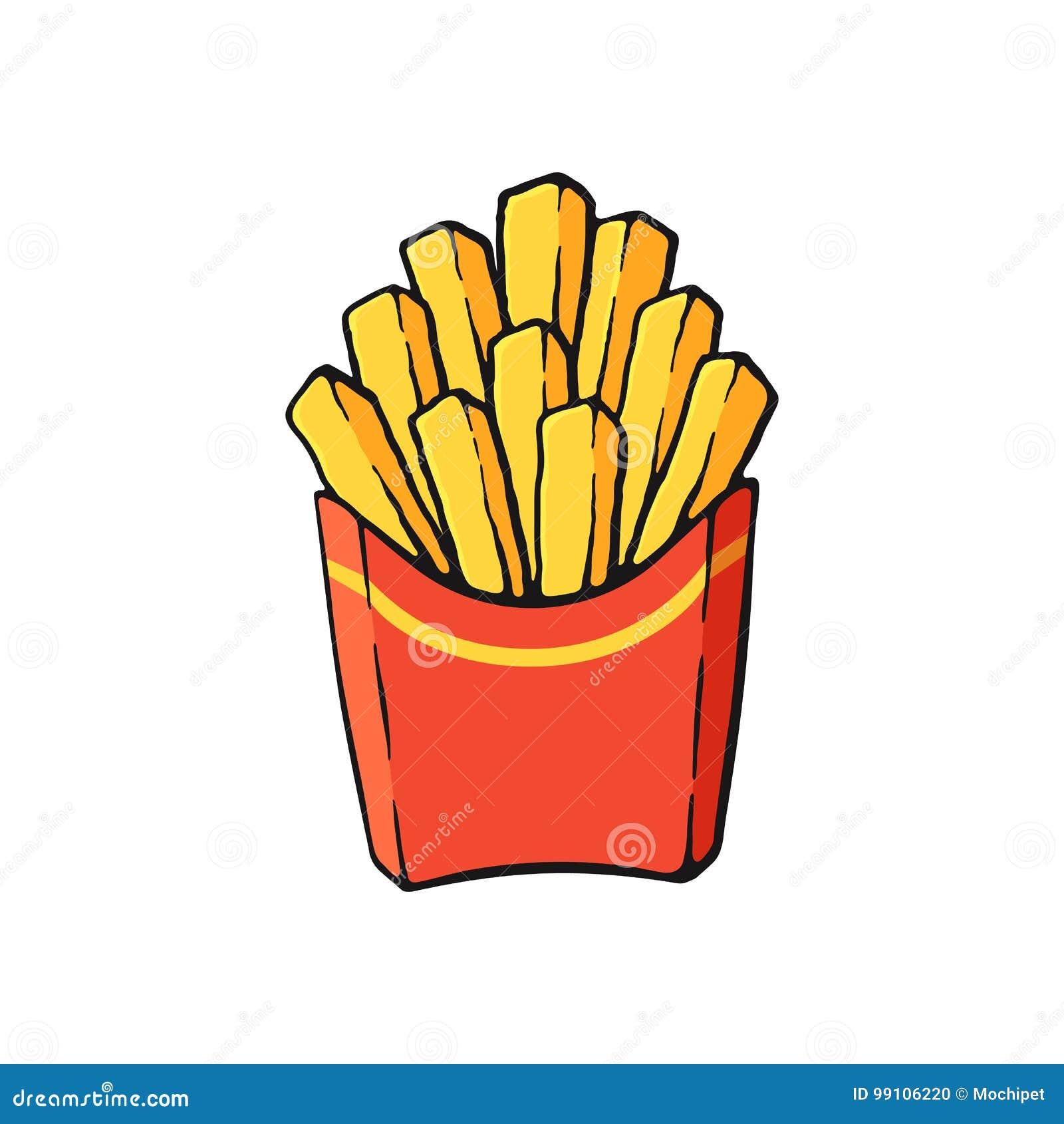 Desenhos Animados Com Contorno Das Batatas Fritas Em Um Bloco
