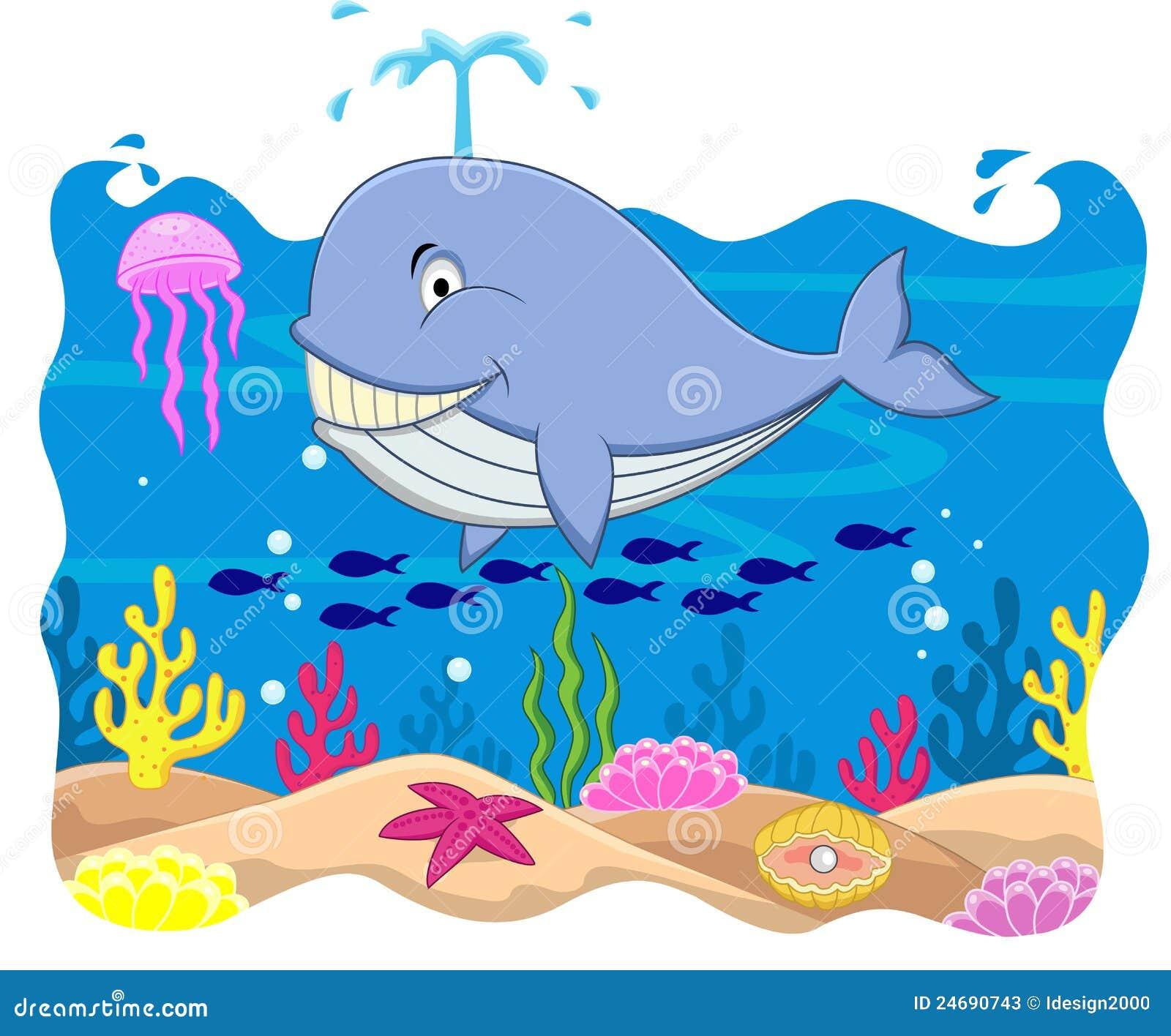 Desenhos Animados Da Baleia Ilustração Stock