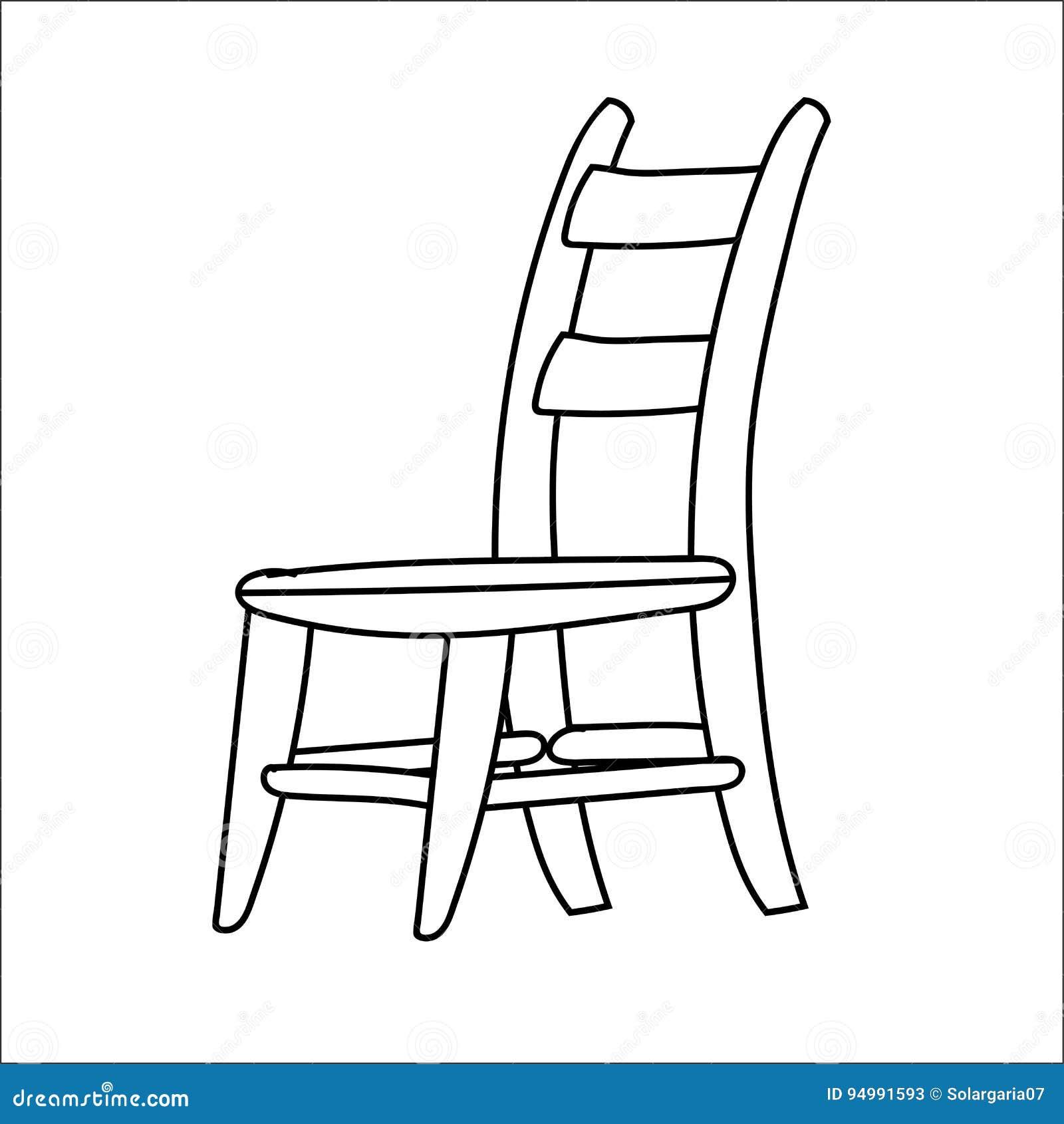 Desenhos Animados Da Cadeira Linha Vetor Tirado Ilustracao Do