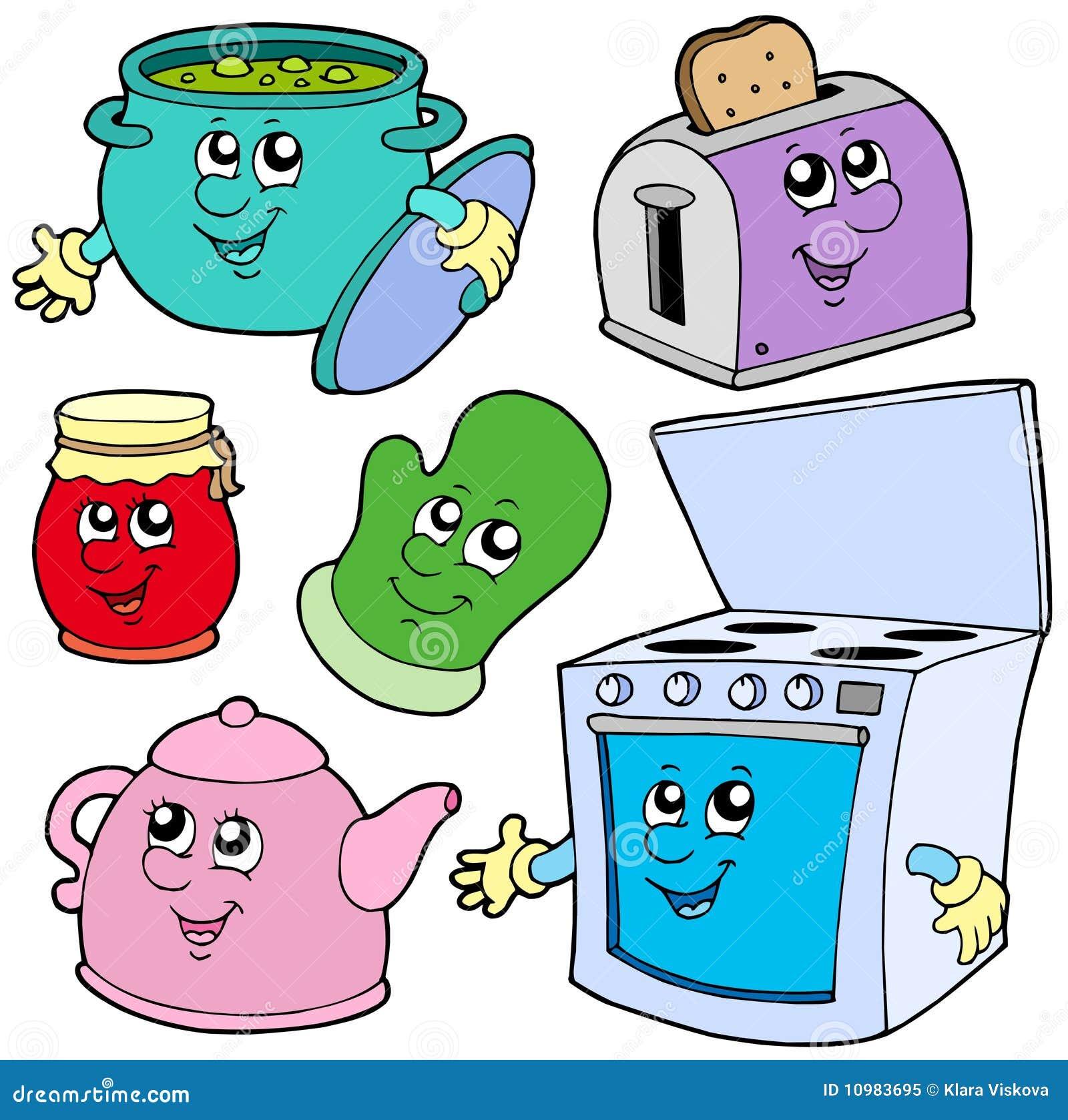 Desenhos animados da cozinha no fundo branco vector a ilustração. #C90218 1300 1380