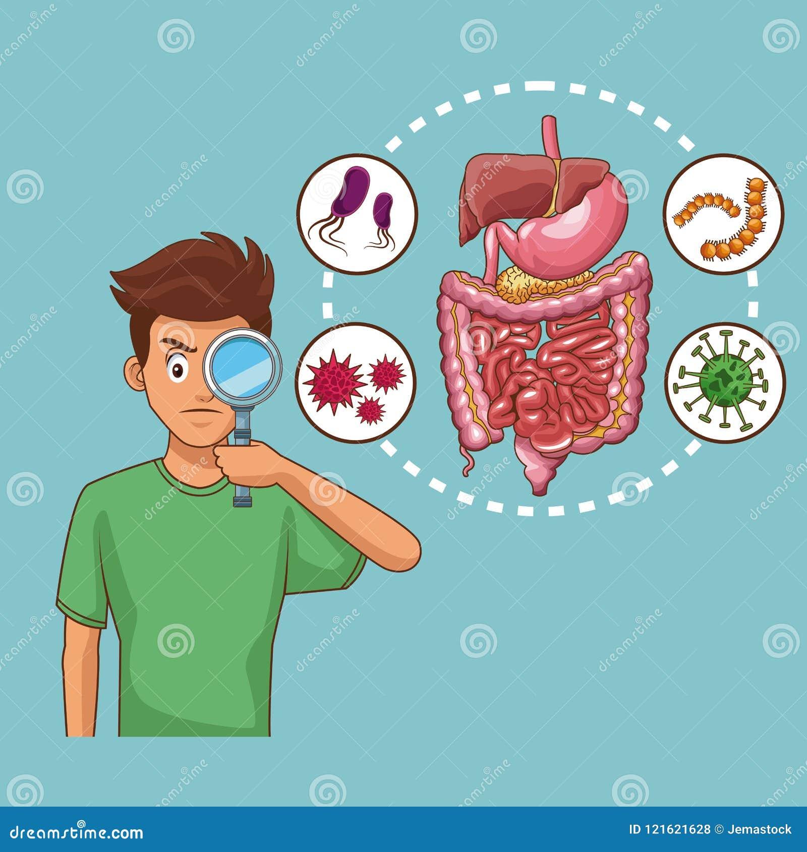 Desenhos animados da dor de estômago