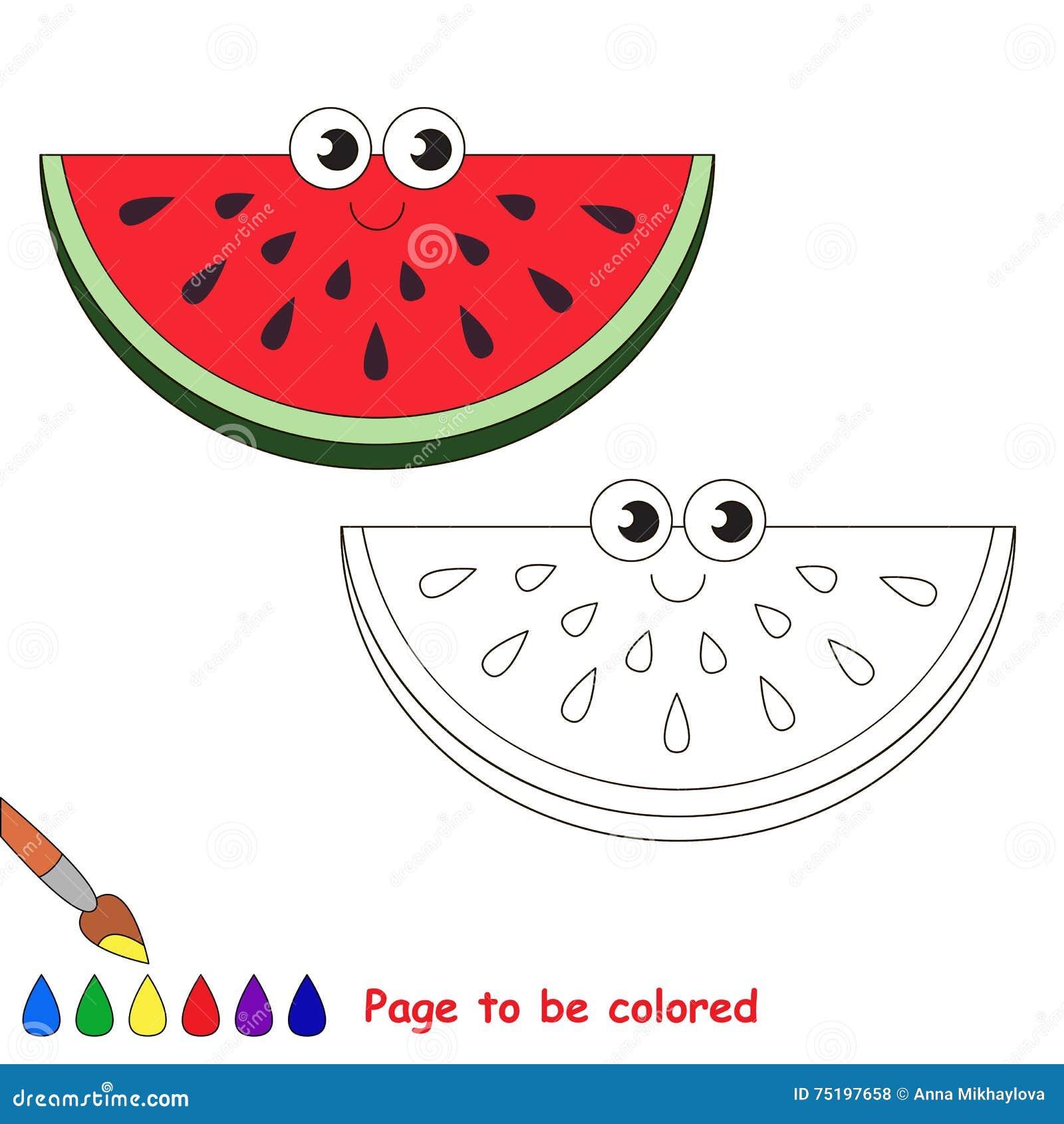 desenhos animados da fatia da melancia página a ser colorida
