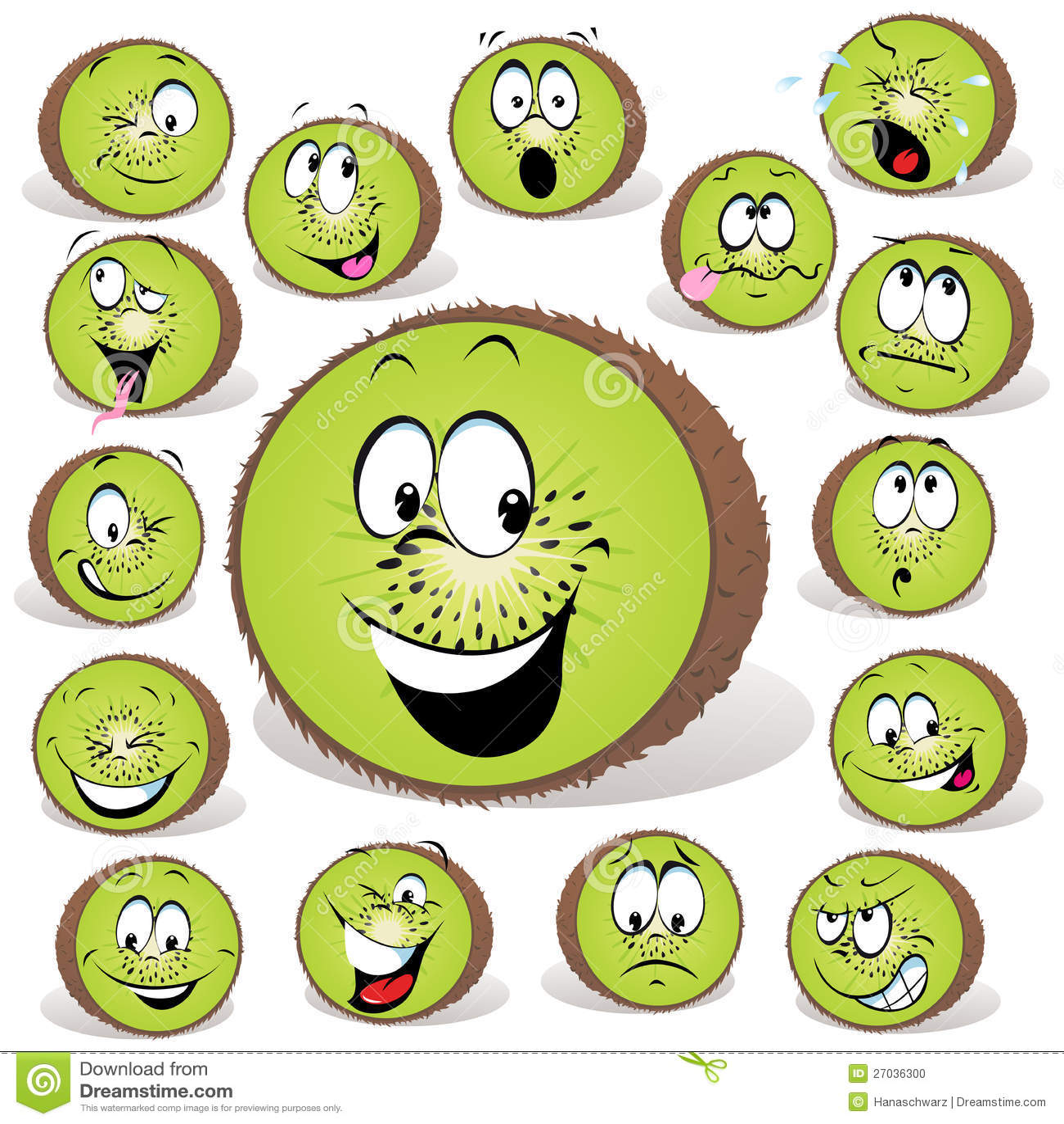 Desenhos animados da fruta de quivi