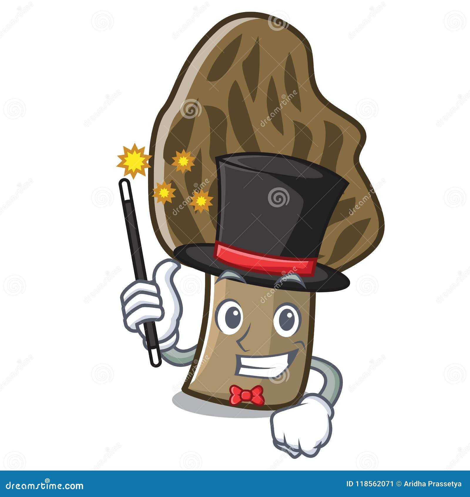 Desenhos animados da mascote do cogumelo do morel do mágico