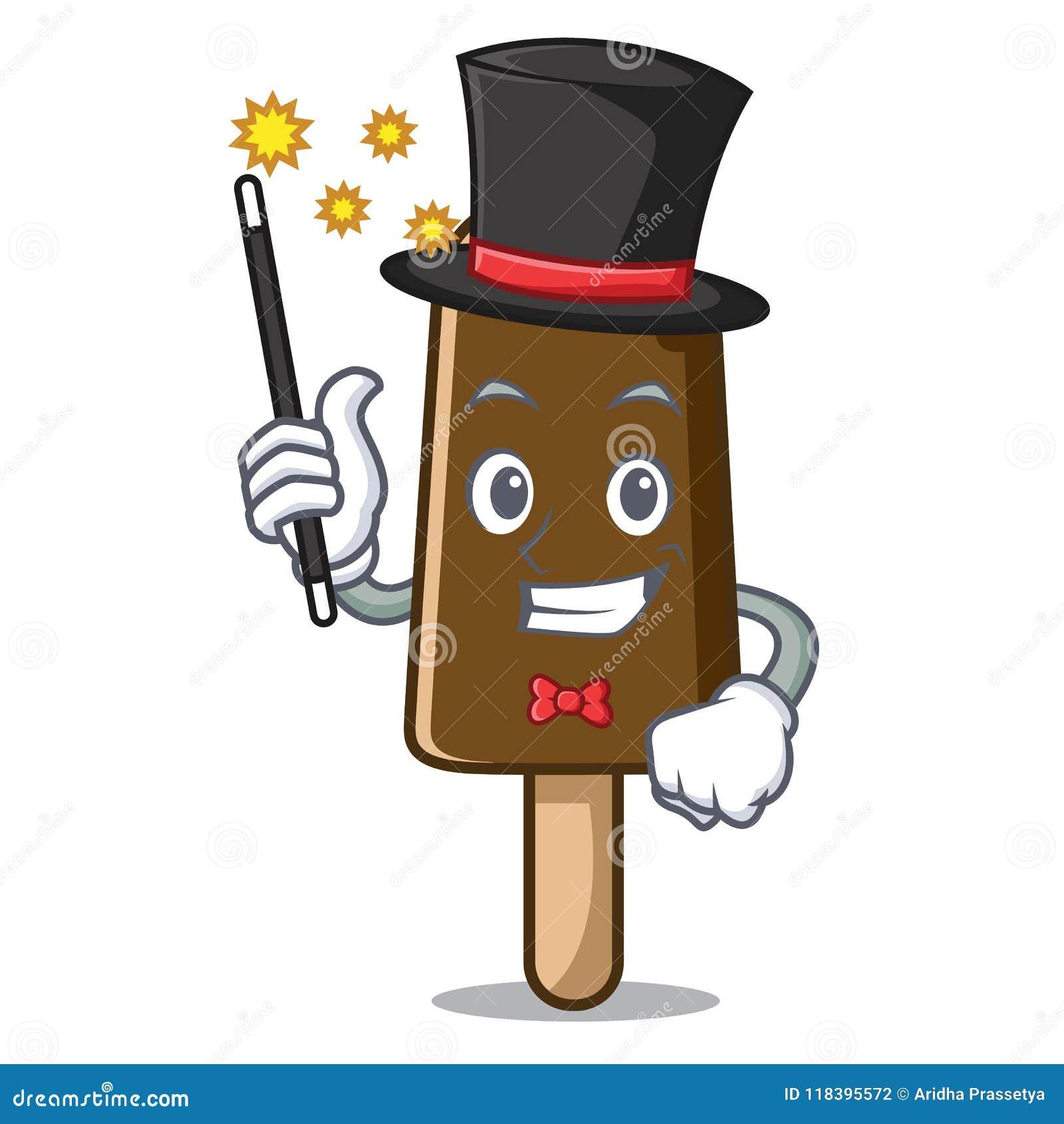 Desenhos animados da mascote do gelado de chocolate do mágico