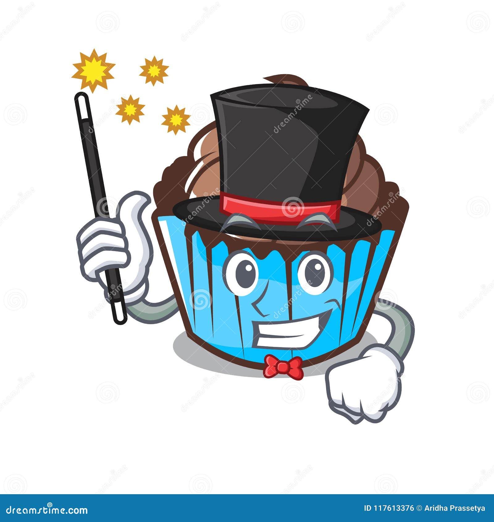 Desenhos animados da mascote do queque do chocolate do mágico