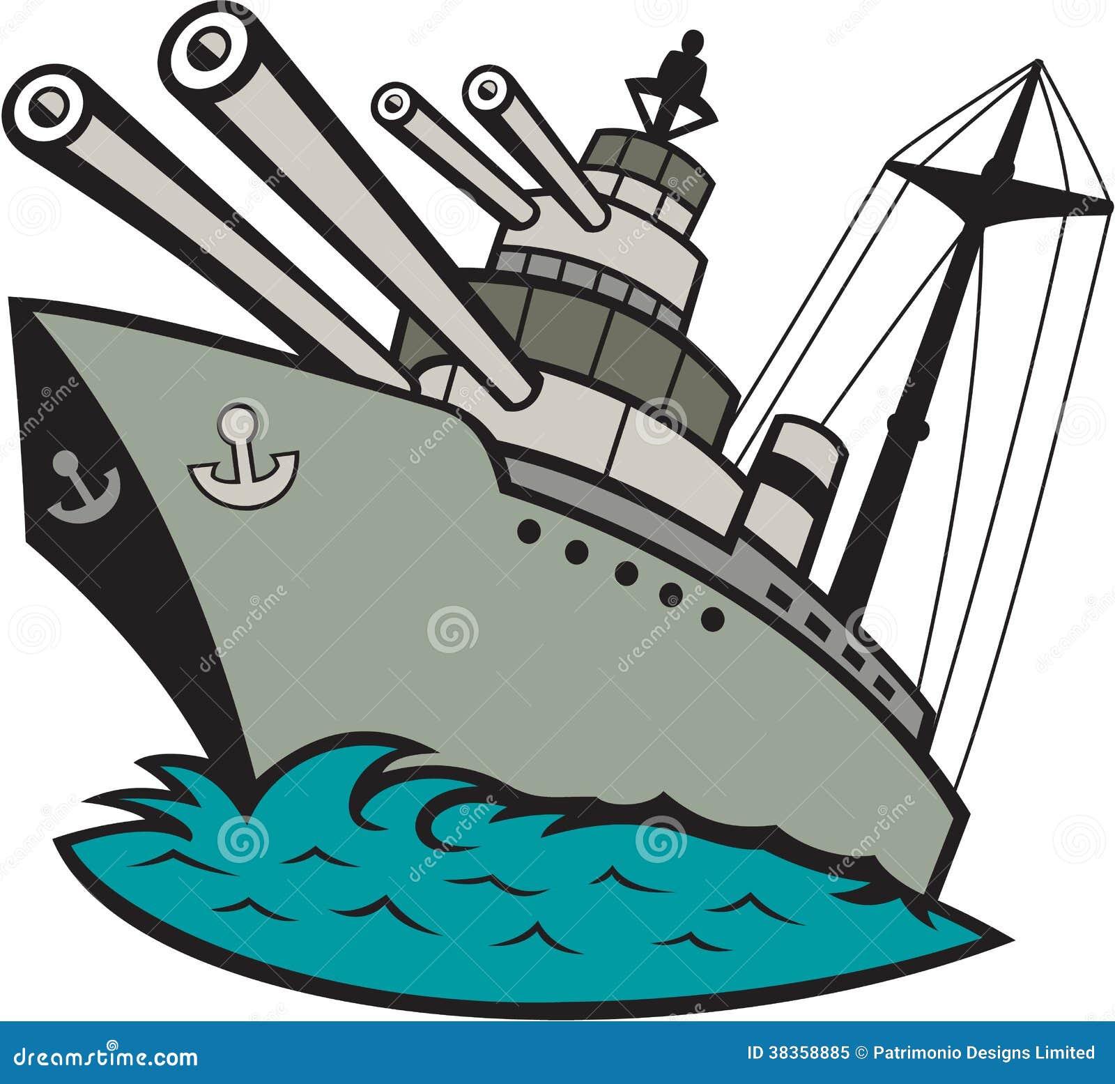 Desenhos animados da navio de guerra segunda