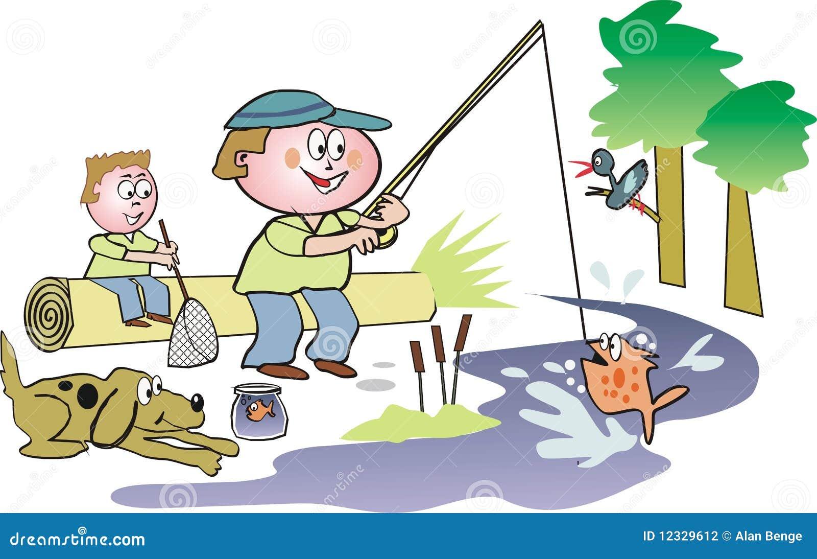 Desenhos Animados Da Pesca Da Família Fotografia De Stock