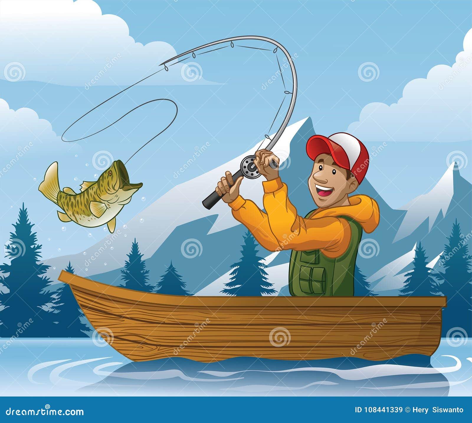 Desenhos Animados Da Pesca Do Homem No Barco Ilustracao Do Vetor