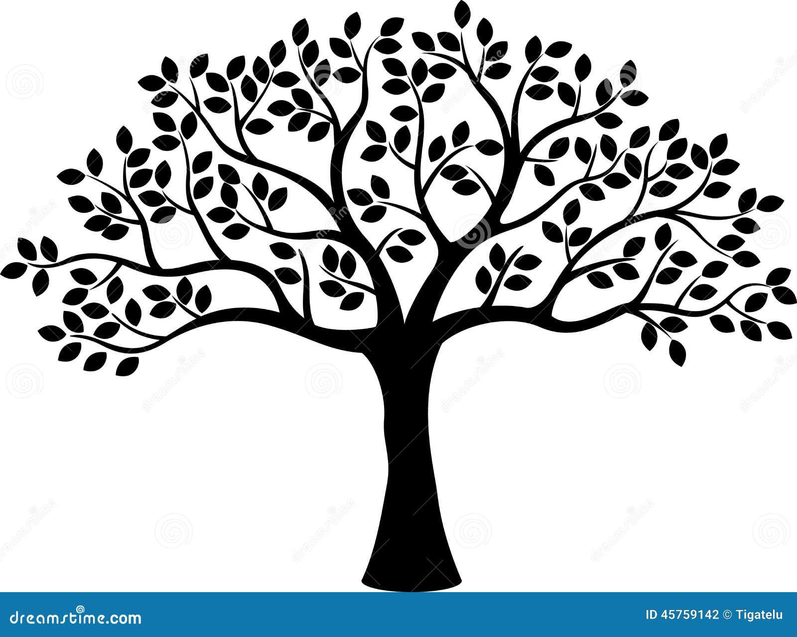 Desenhos animados da silhueta da árvore