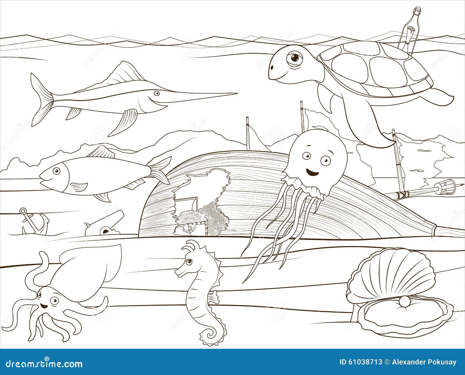 Desenhos Animados Da Vida Marinha Do Livro Para Colorir