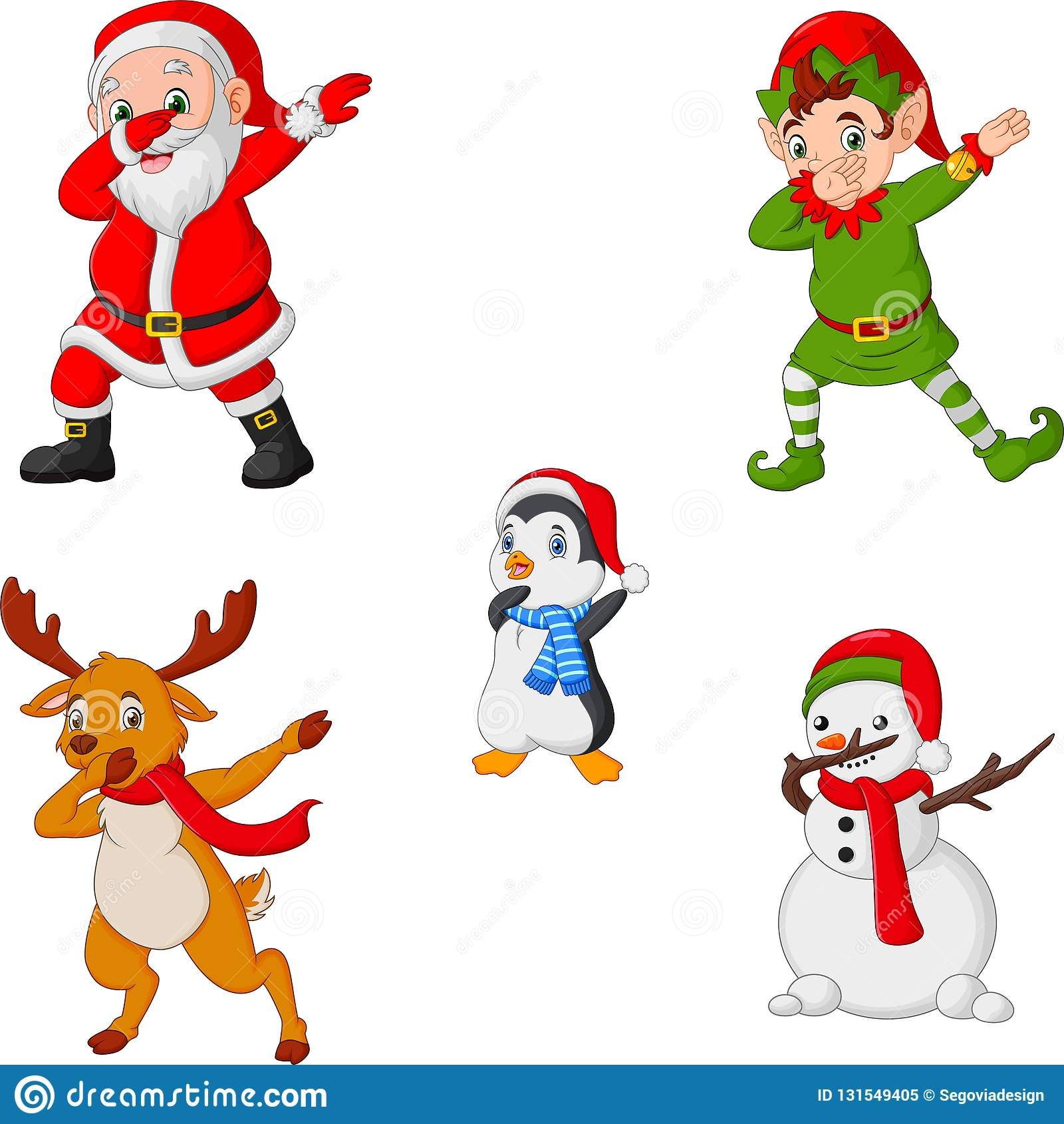 Desenhos Animados De Danca Papai Noel Do Natal Duende Rena