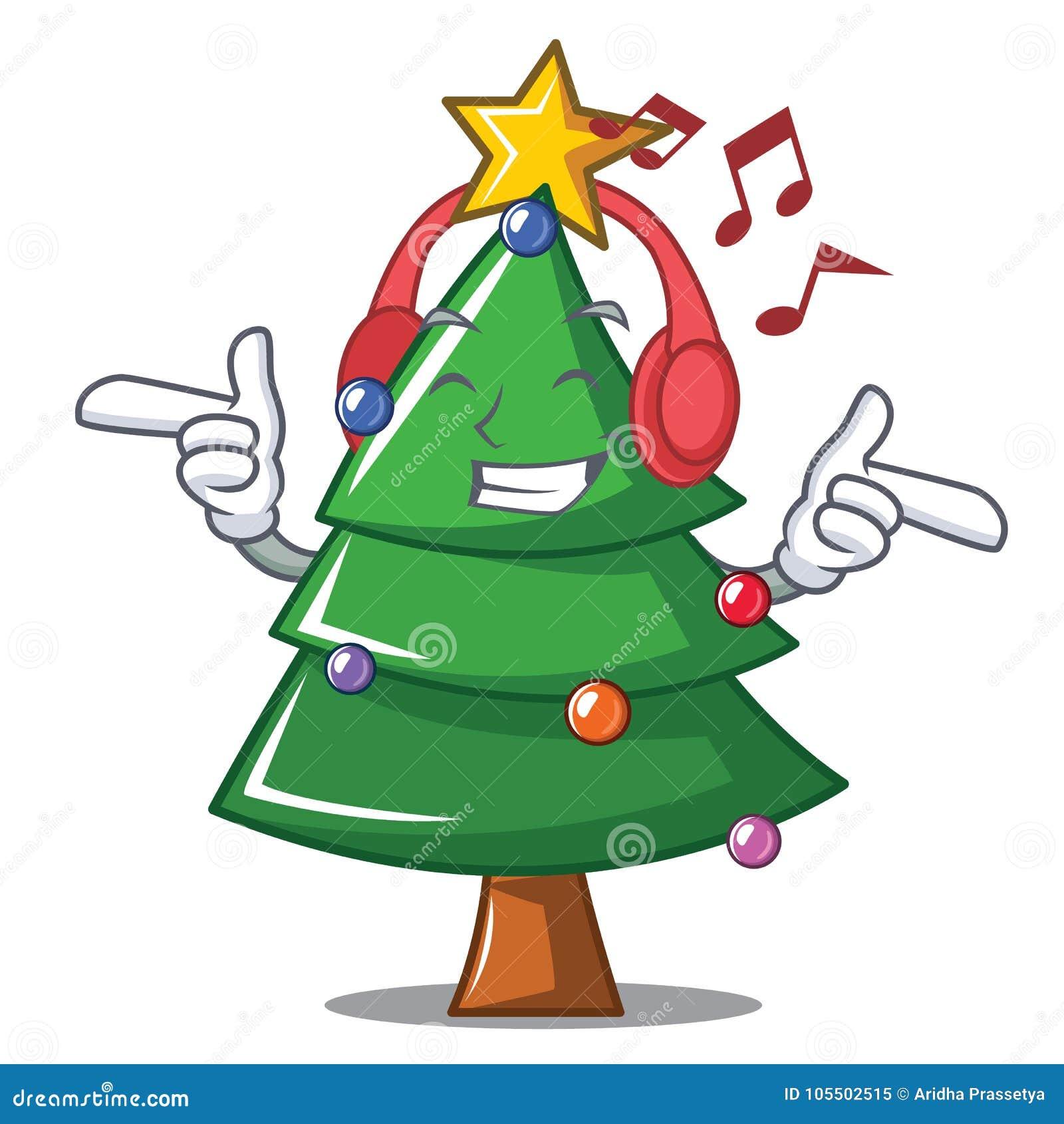 Desenhos Animados De Escuta Do Carater Da Arvore De Natal Da