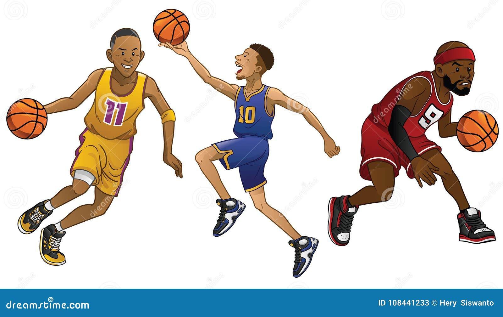 Desenhos animados de jogadores de basquetebol no grupo