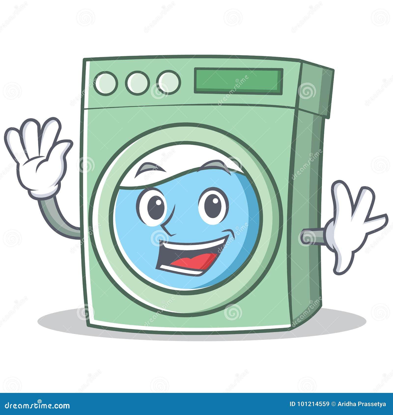 Desenhos Animados De Ondulacao Do Carater Da Maquina De Lavar
