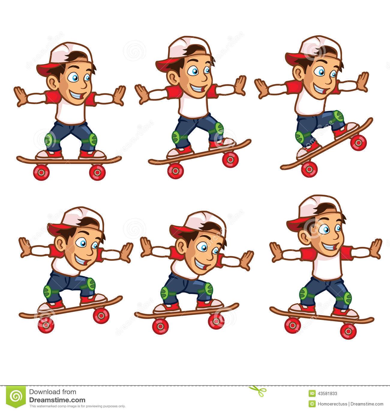 Desenhos Animados De Salto Sprite Do Menino Do Skater
