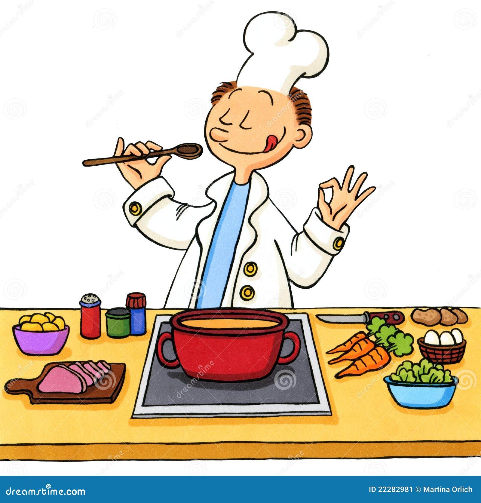 Desenhos animados engraçados de um cozinheiro que cozinha na cozinha  #C68D05 1300 1376