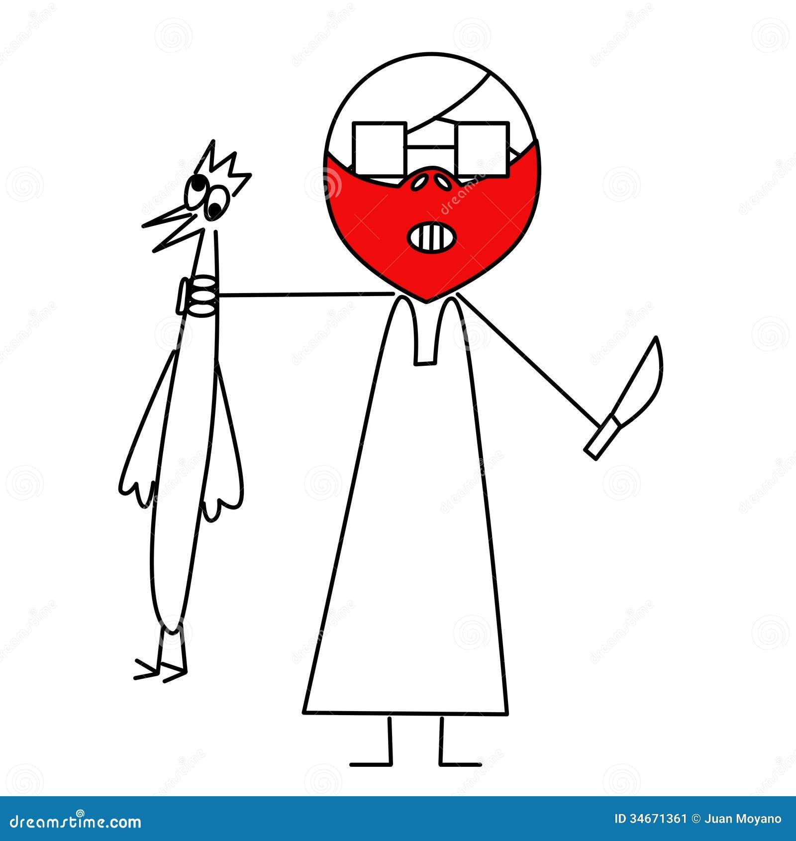 Desenhos animados de um indivíduo com um peru para cozinhá los para  #C2090C 1300 1390