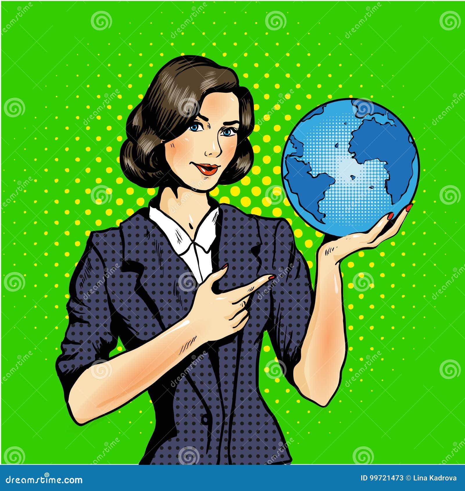 Desenhos animados de uma mulher que mantém um pop art do globo cômico