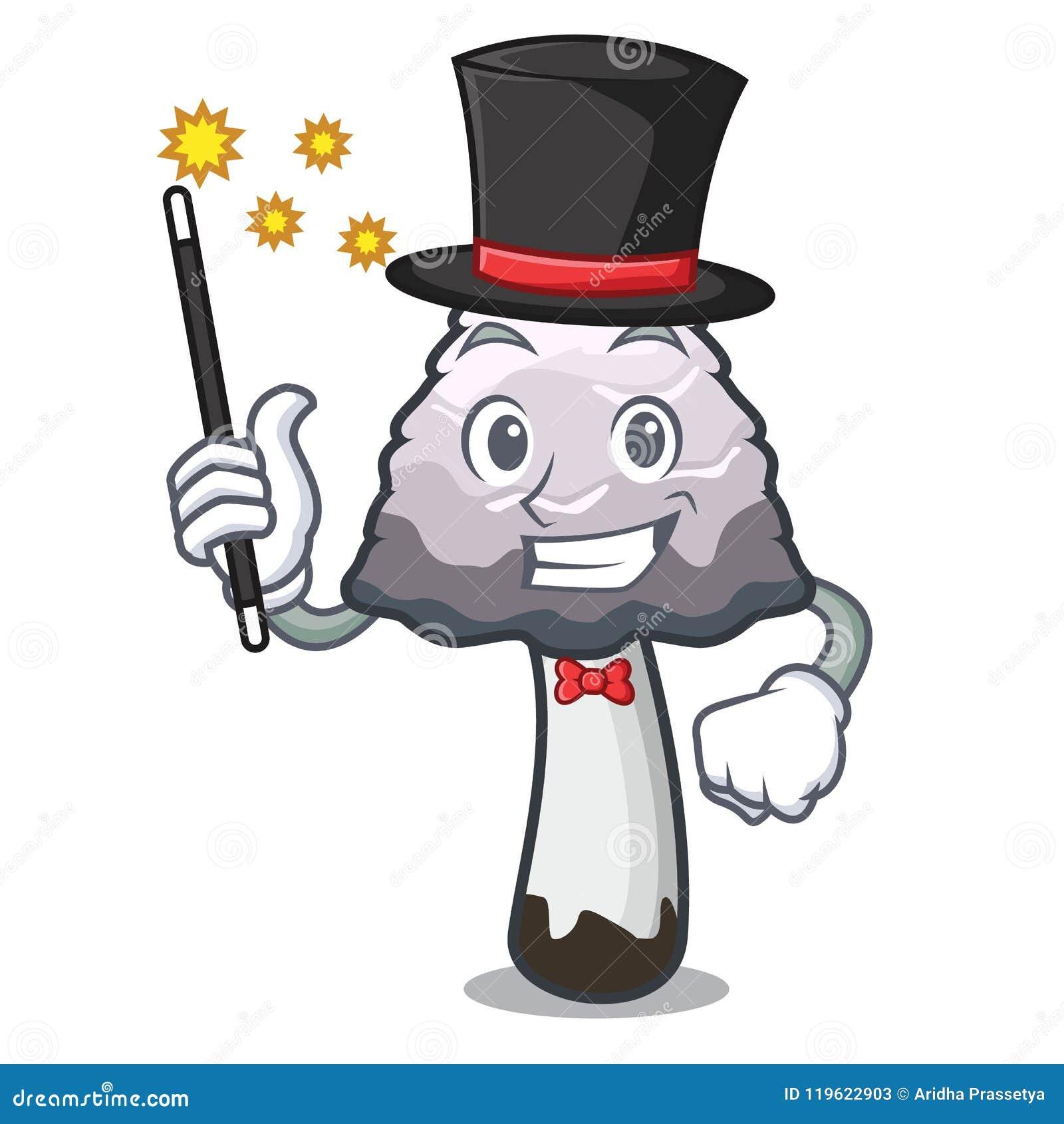 Desenhos animados desgrenhado da mascote do cogumelo da juba do mágico