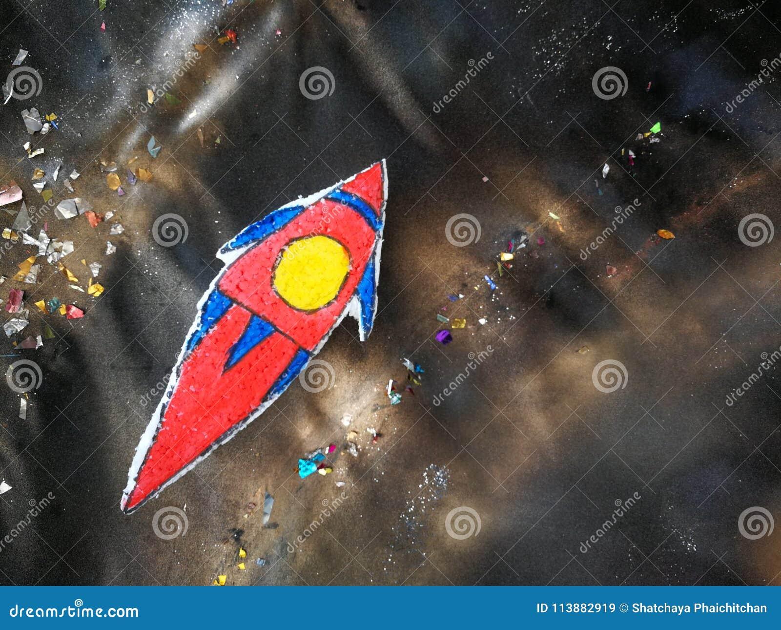 Desenhos animados do artigo da nave espacial na placa do estudante