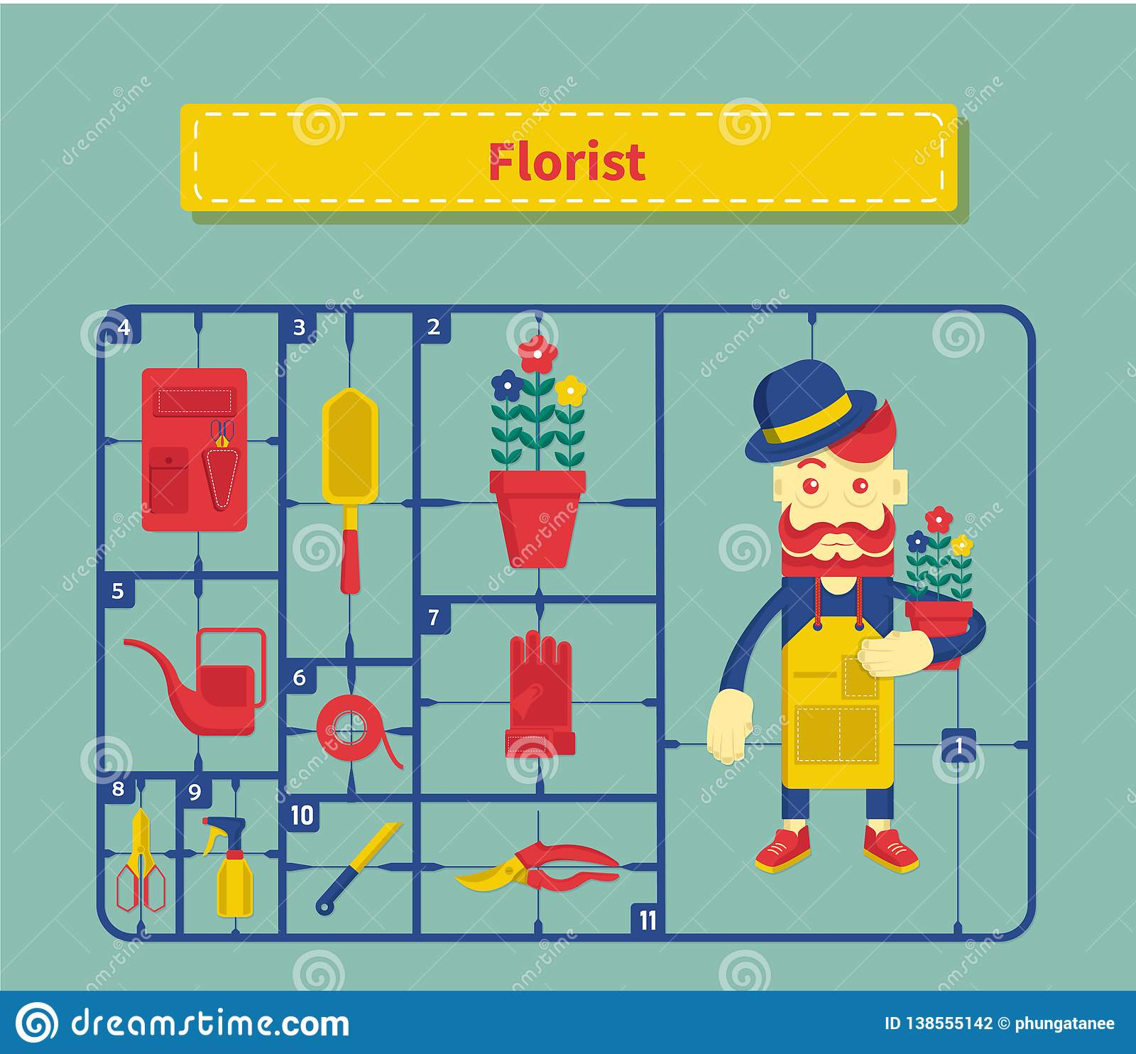Desenhos animados do conceito do estilo do vintage do florista do caráter