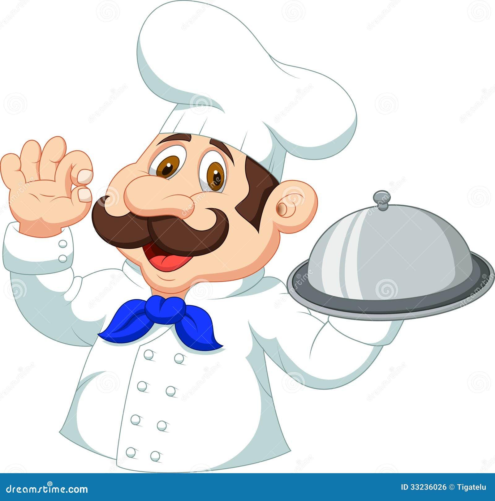 Desenhos animados do cozinheiro chefe com sinal aprovado
