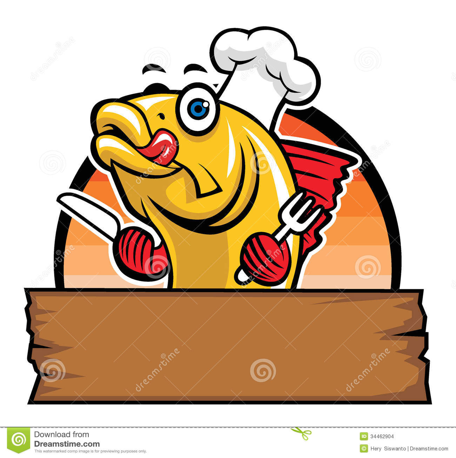 Desenhos Animados Do Cozinheiro Chefe Dos Peixes