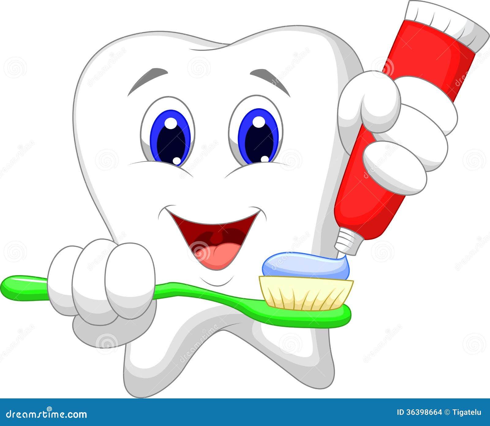 Desenhos Animados Do Dente Que Poem A Pasta De Dente Sobre Sua