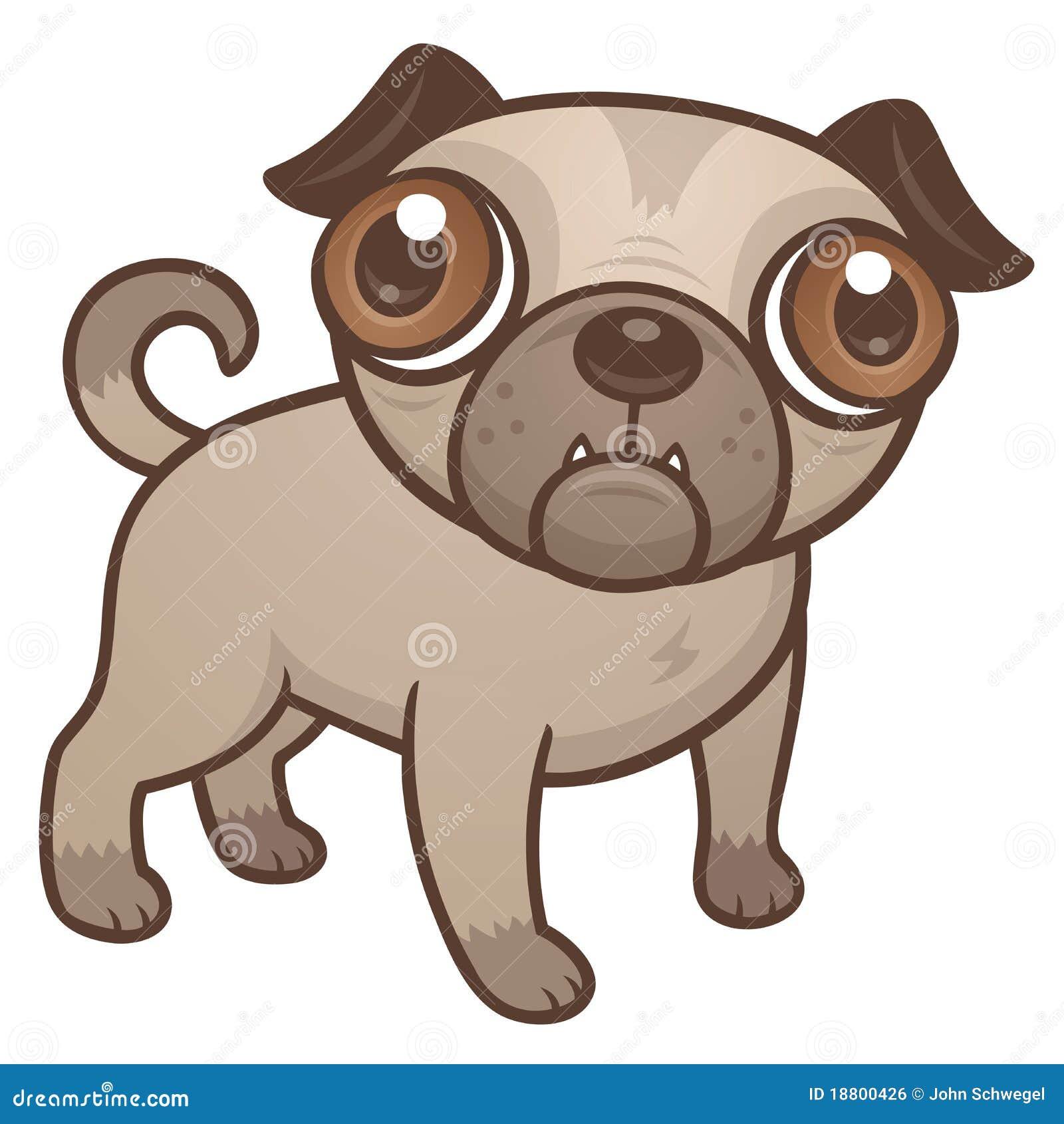 Desenhos Animados Do Filhote De Cachorro Do Pug Ilustracao Do