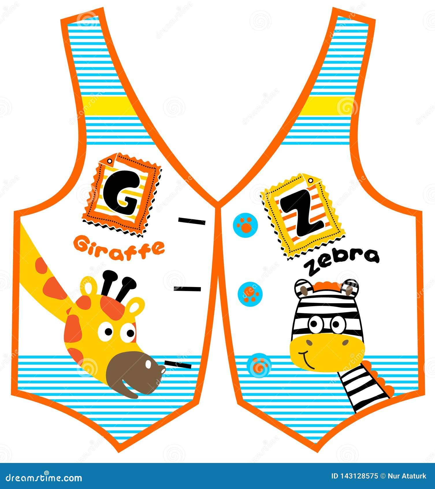 Desenhos animados do girafa e da zebra no teste padr?o da veste