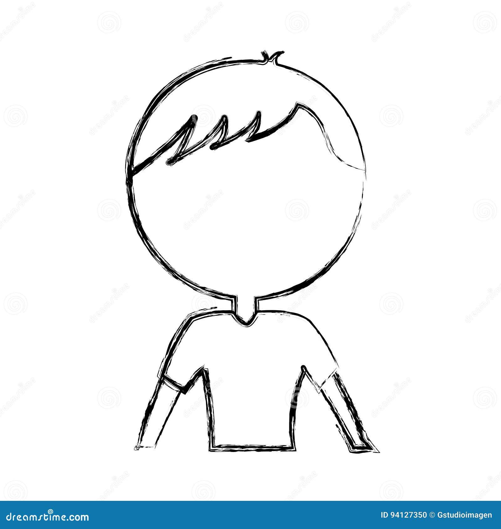 Desenhos Animados Do Homem Da Parte Superior Do Corpo Da Tracao Do