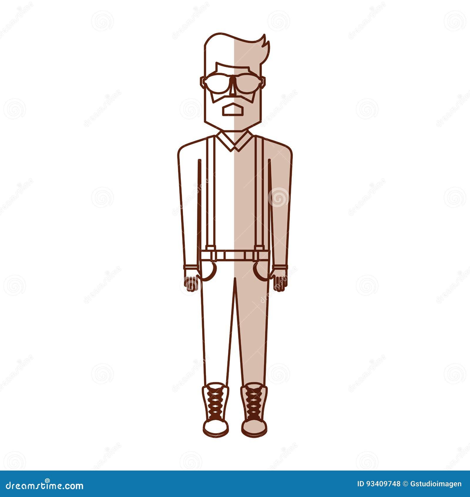 Desenhos Animados Do Homem Do Corpo Do Vintage Da Sombra