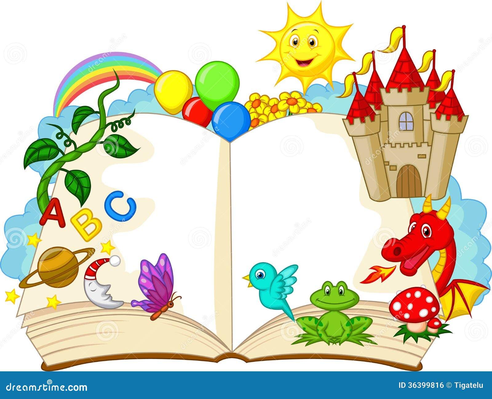 Desenhos animados do livro da fantasia imagem de stock