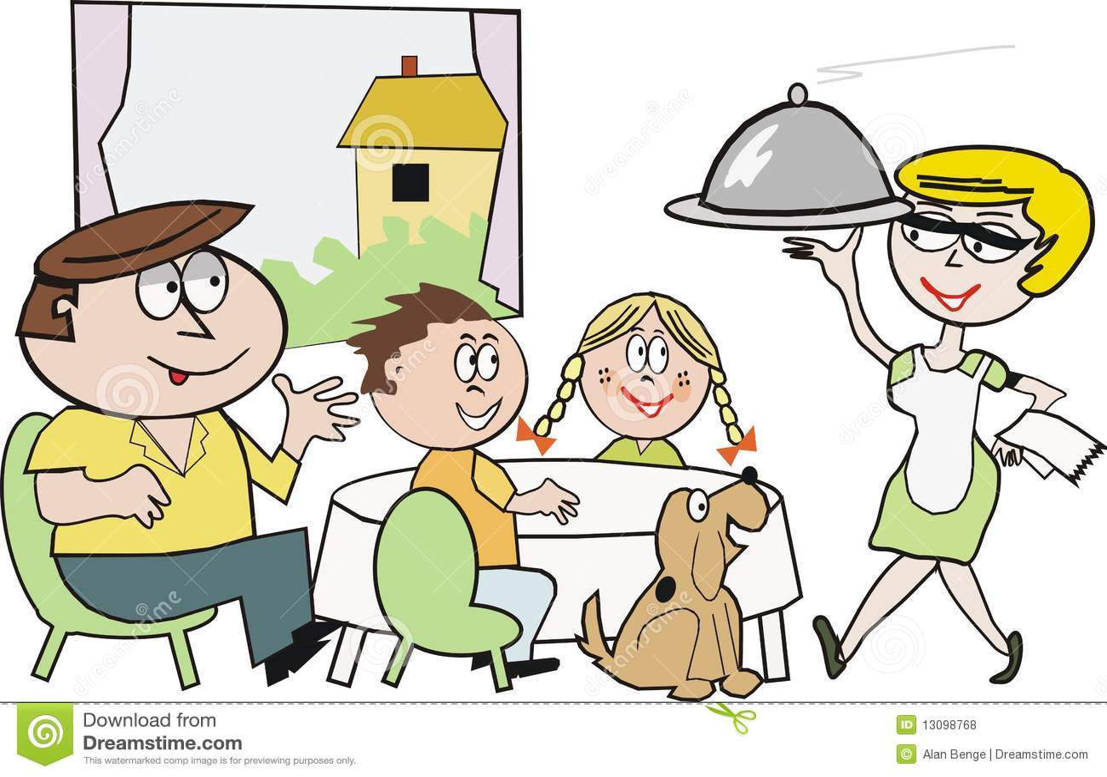 Dining room table design - Desenhos Animados Do Mealtime Da Fam 237 Lia Fotos De Stock